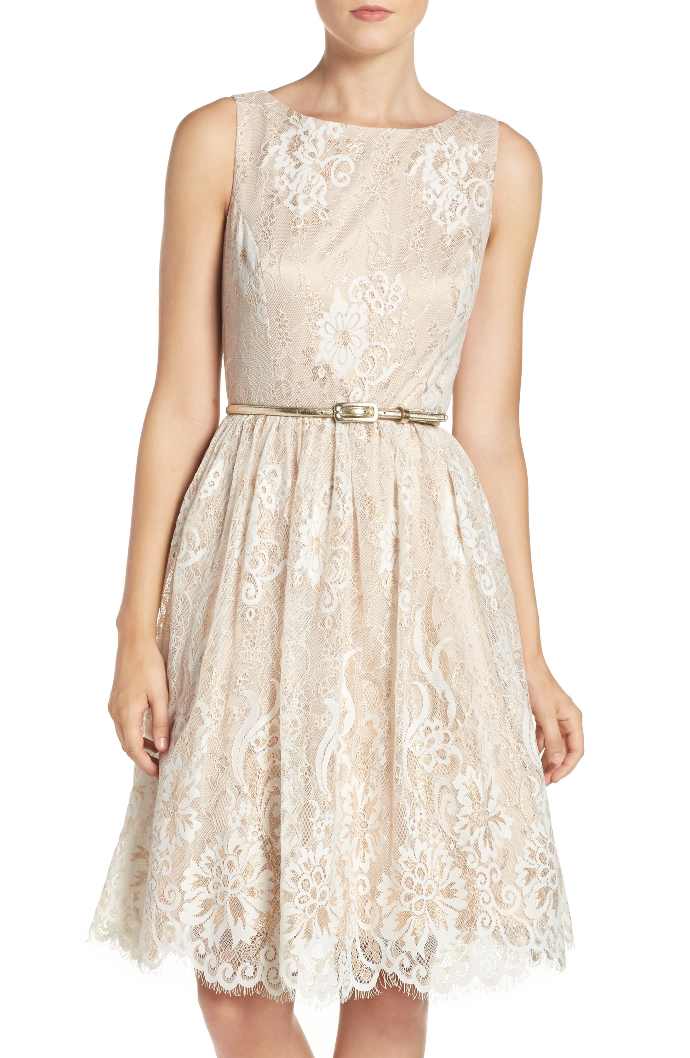 Main Image - Eliza J Belted Lace Fit & Flare Dress