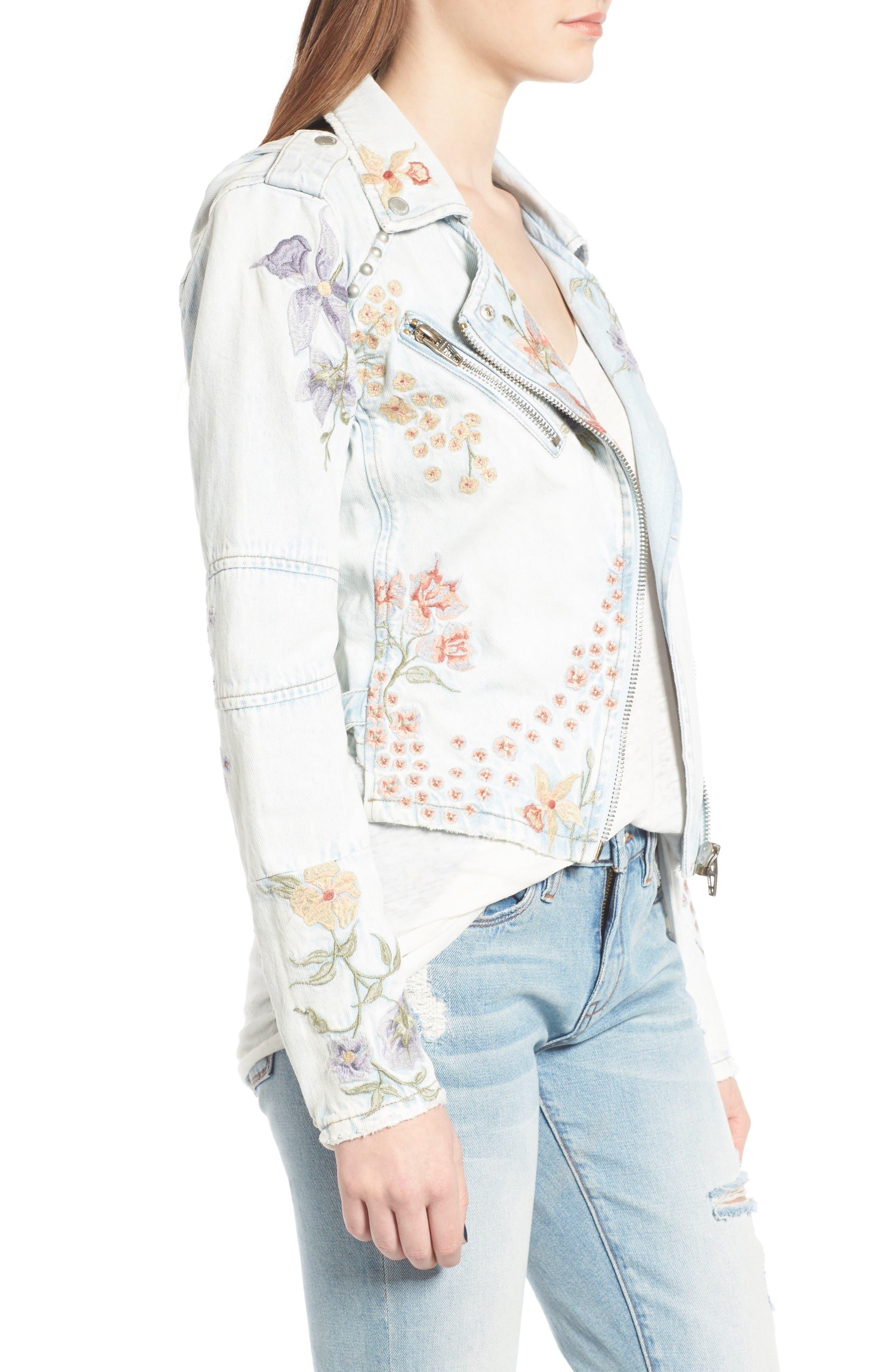 Alternate Image 4  - BLANKNYC Embroidered Denim Moto Jacket
