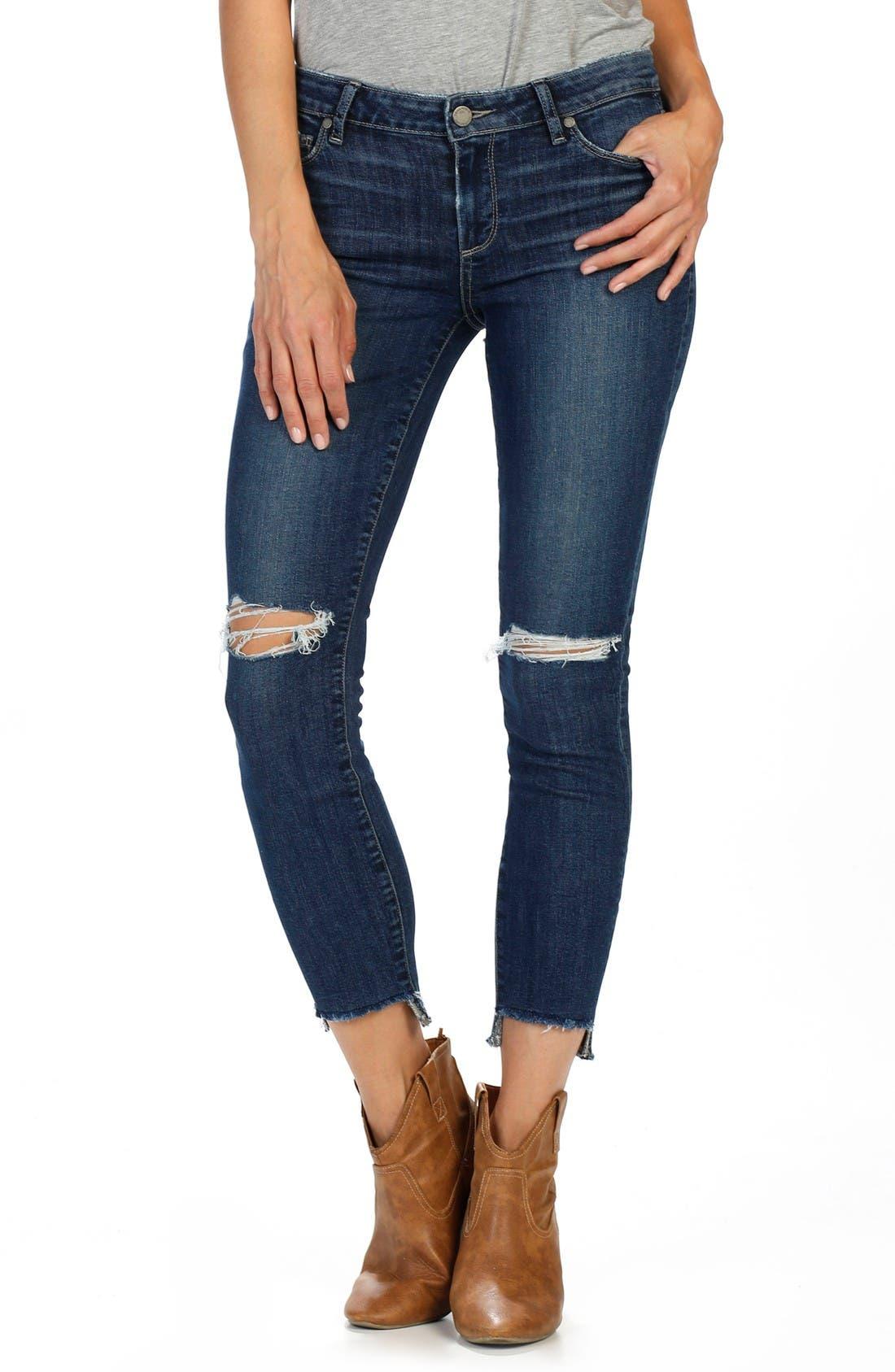 Alternate Image 1 Selected - PAIGE Verdugo Step Hem Ankle Skinny Jeans (Dede Destructed)  (Nordstrom Exclusive)