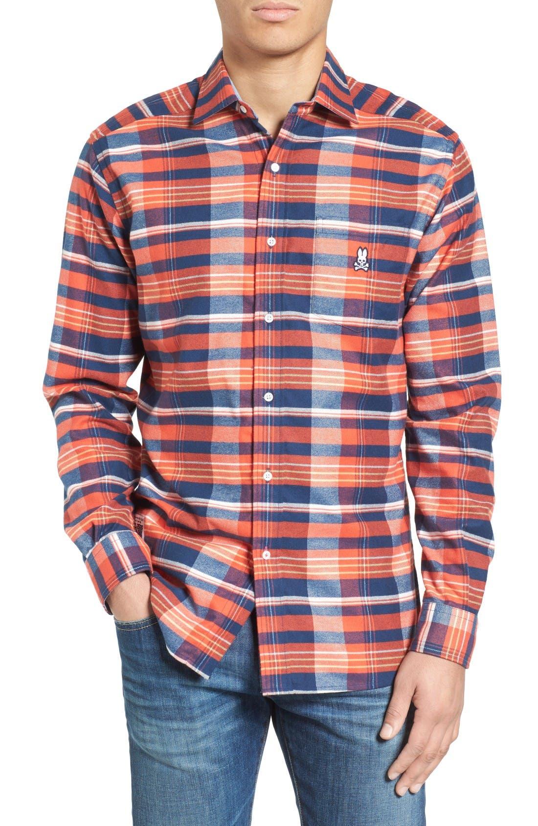 PSYCHO BUNNY Flannel Woven Shirt