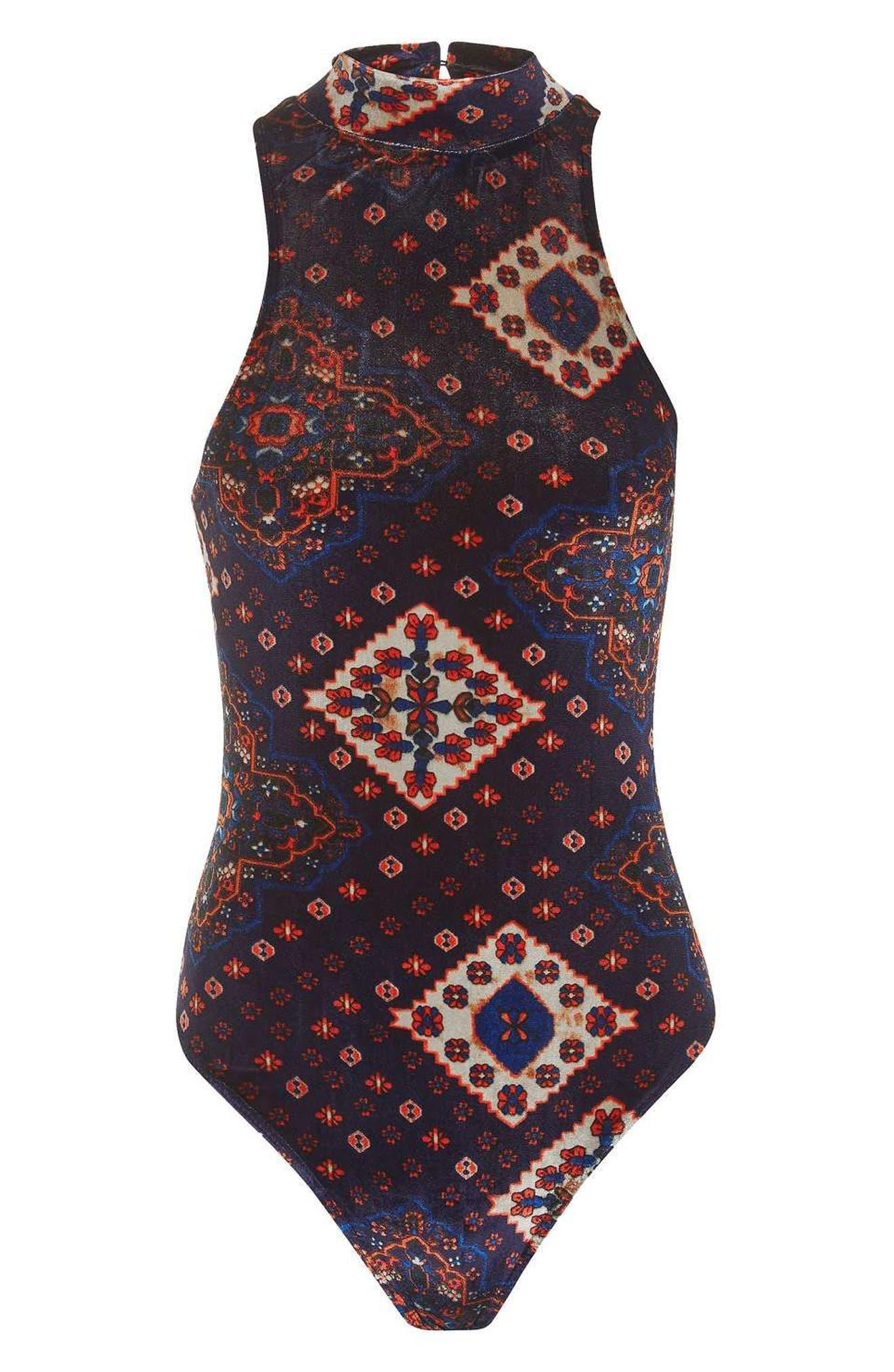 Alternate Image 4  - Topshop Print Velvet Bodysuit