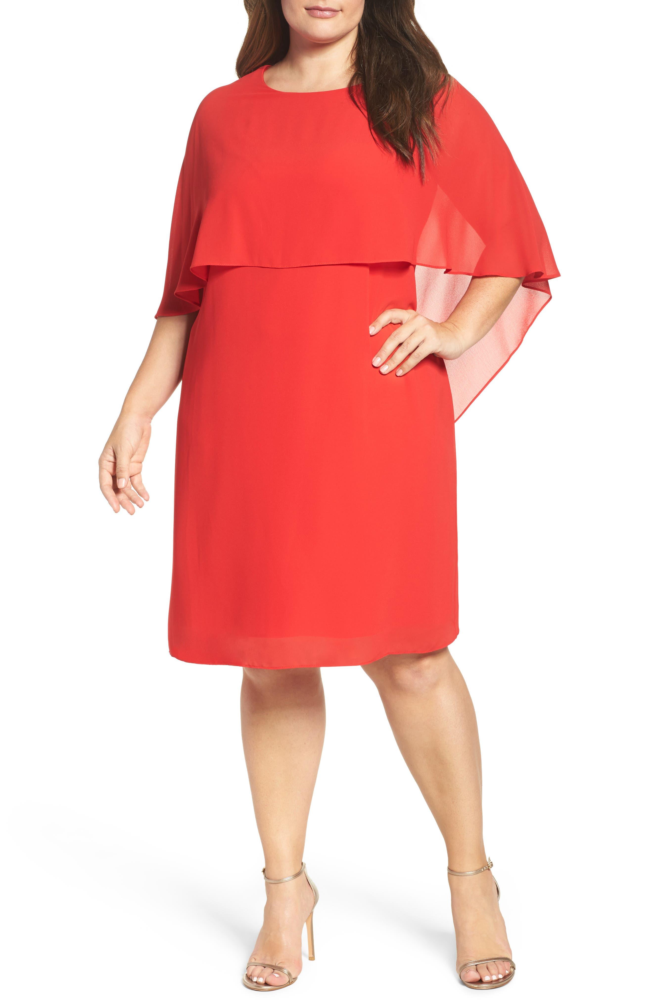 Vince Camuto Chiffon Cape Sheath Dress (Plus Size)