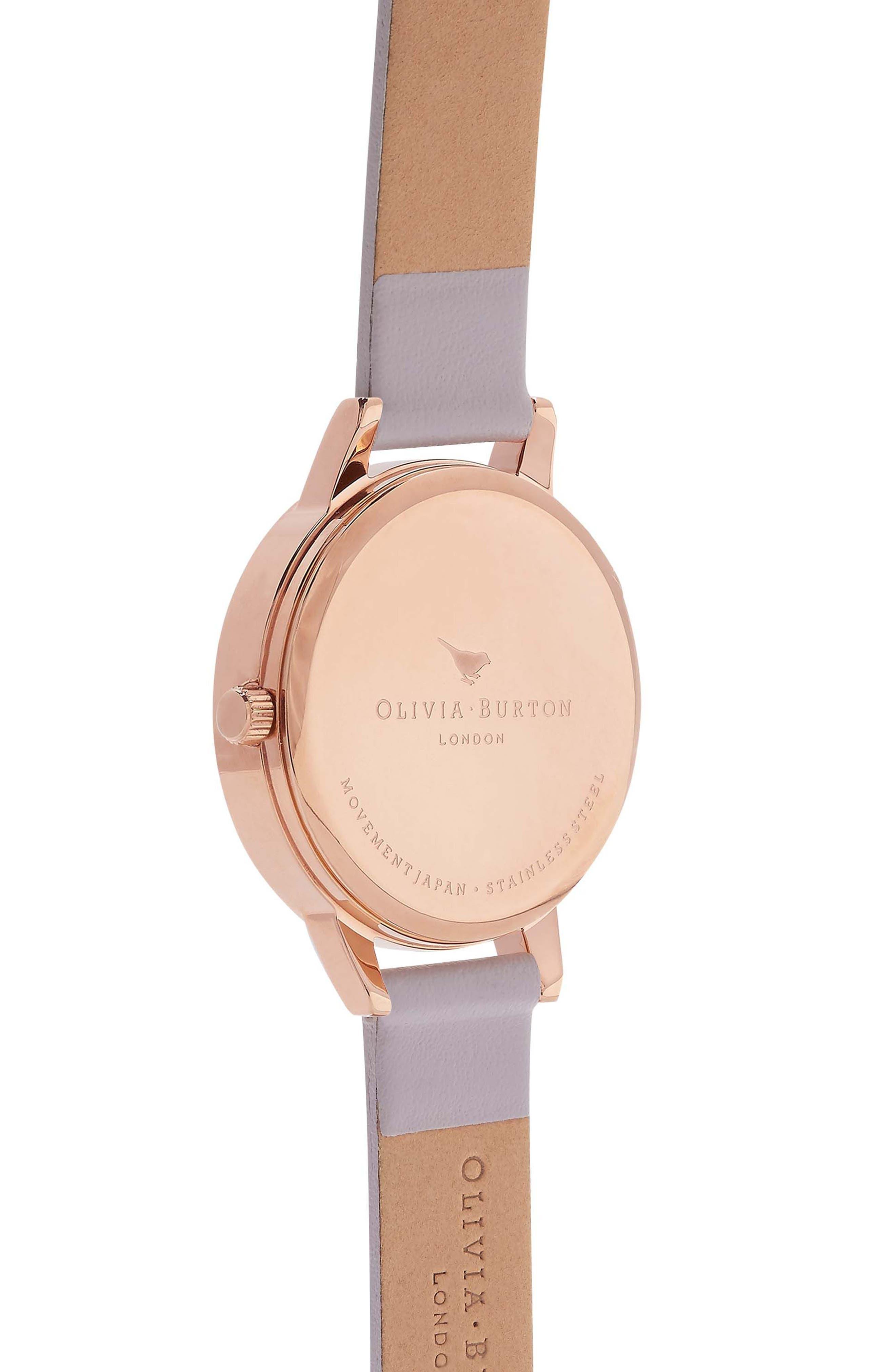 Alternate Image 2  - Olivia Burton Begin to Blush Leather Strap Watch, 30mm