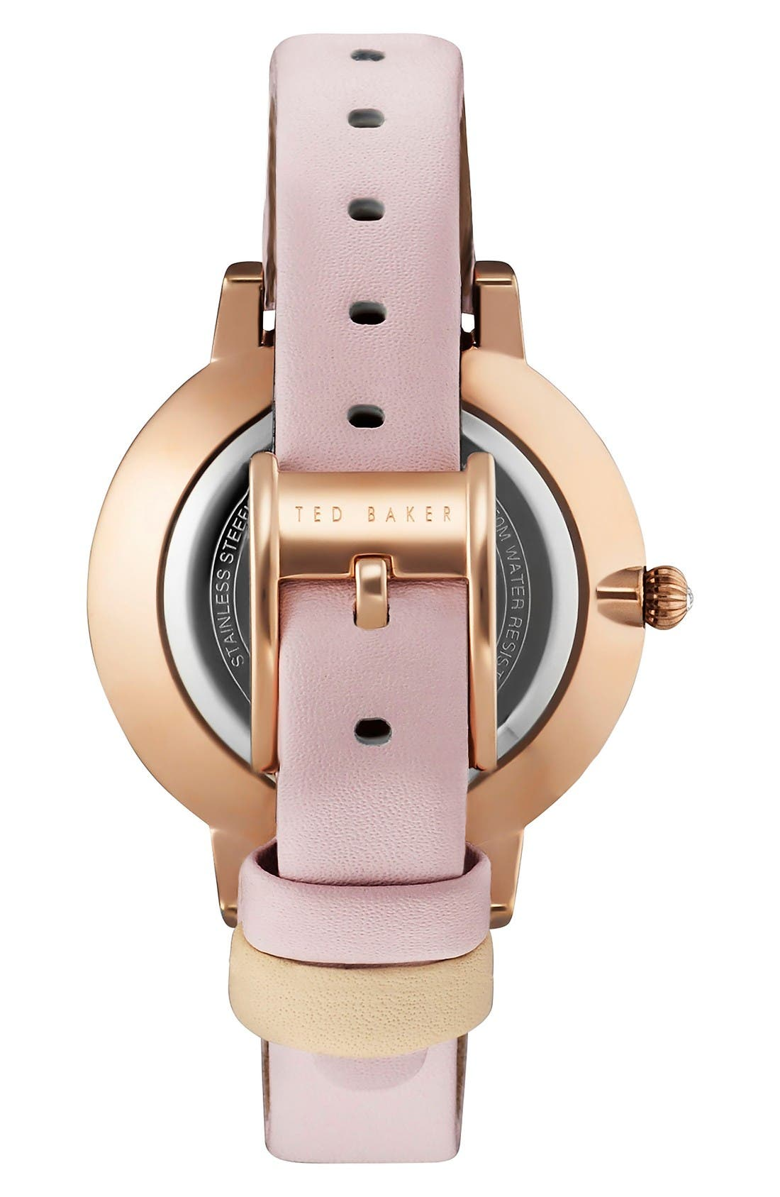 Alternate Image 2  - Ted Baker London Round Leather Strap Watch, 38mm