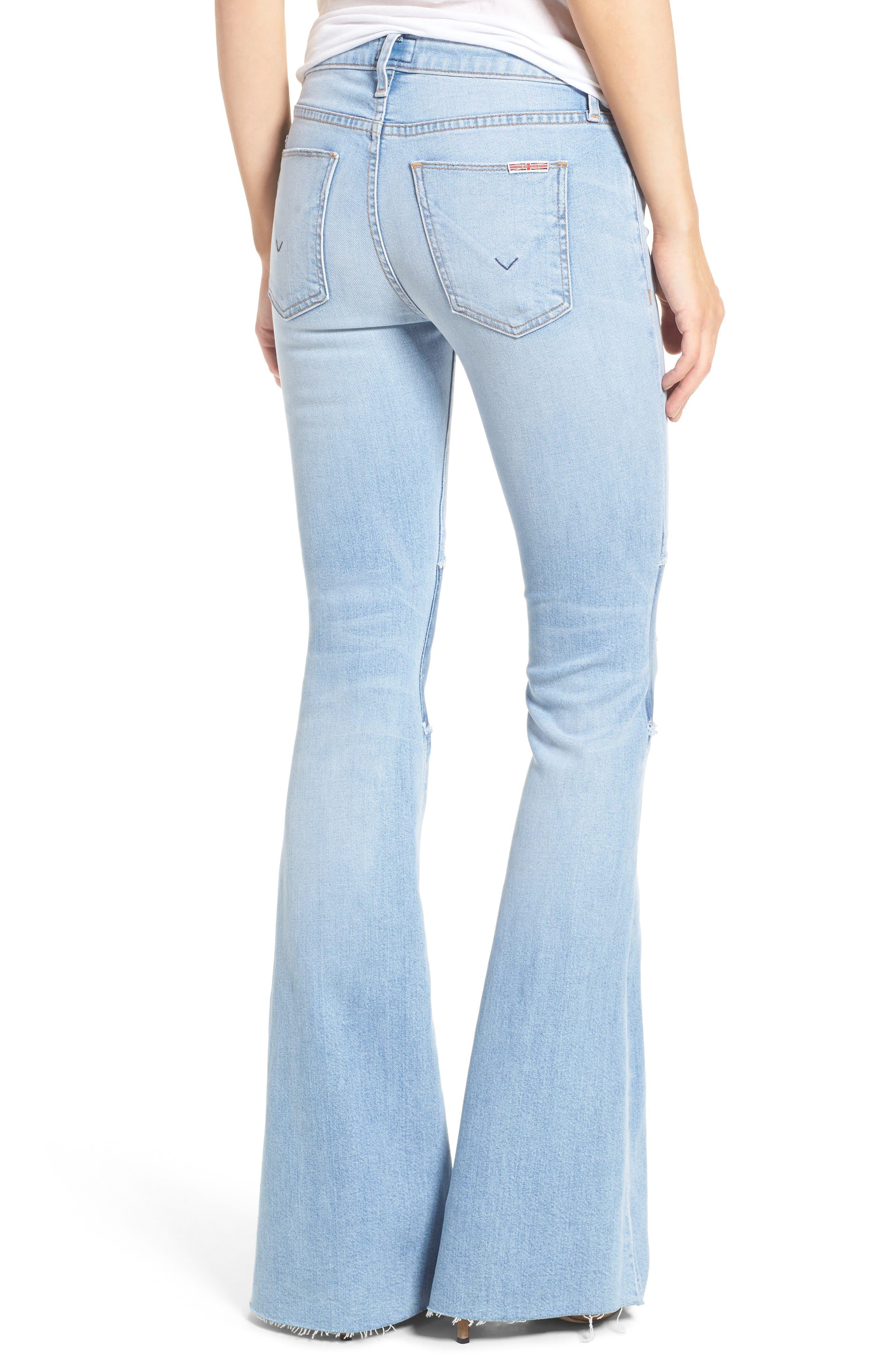 Alternate Image 2  - Hudson Jeans Mia Patchwork Flare Jeans (Royal Delta)