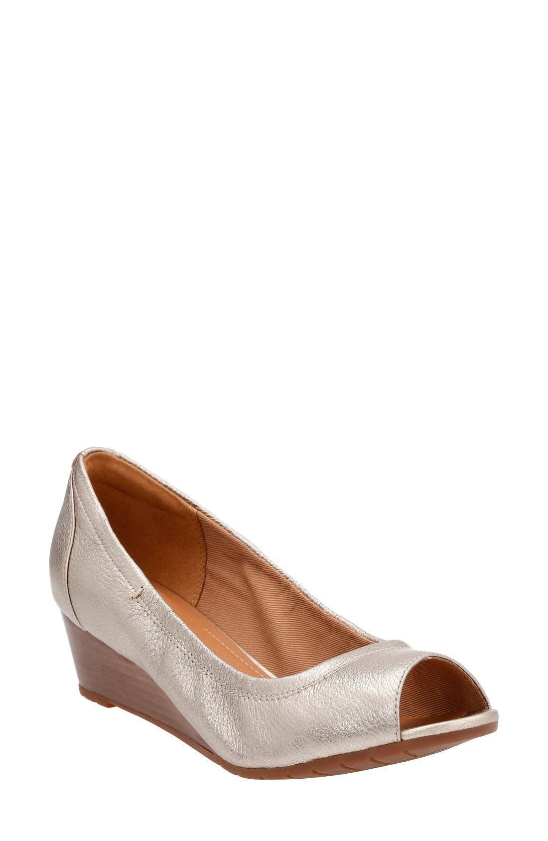 Clarks® Vendra Daisy Open Toe Wedge (Women)