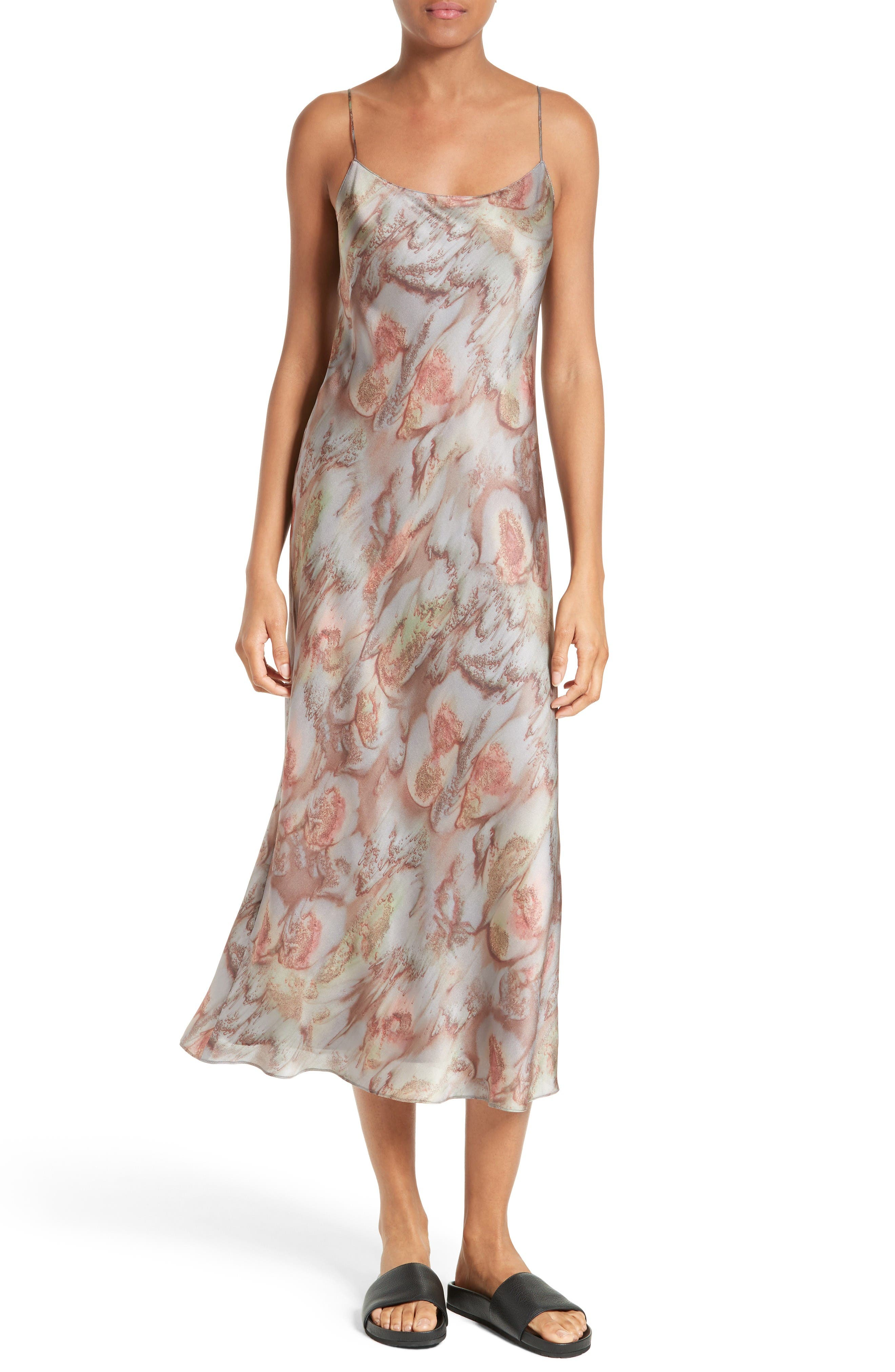 Vince Watercolor Print Silk Slipdress