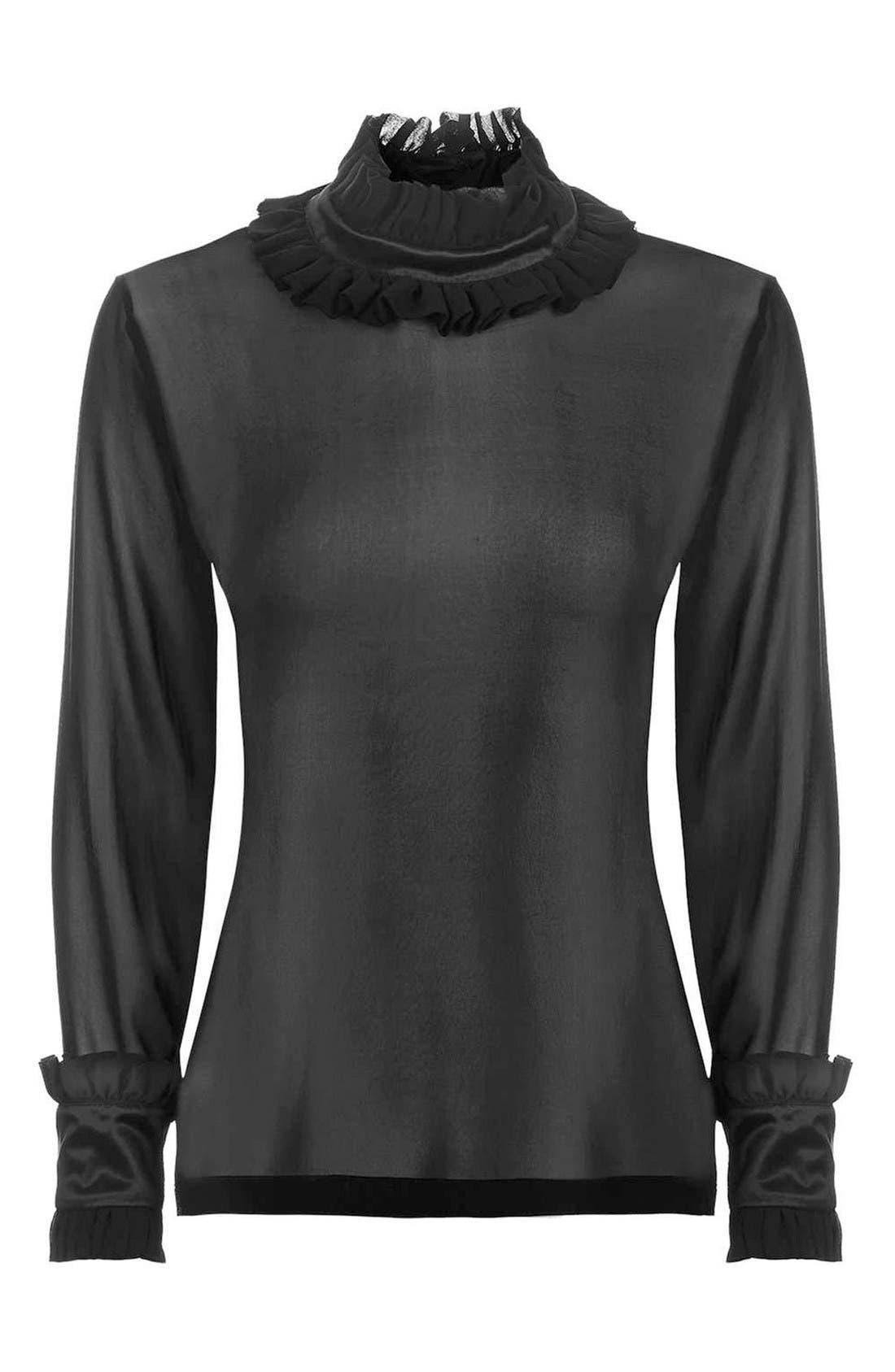Alternate Image 4  - Topshop Boutique Hagen Sheer Silk Blouse