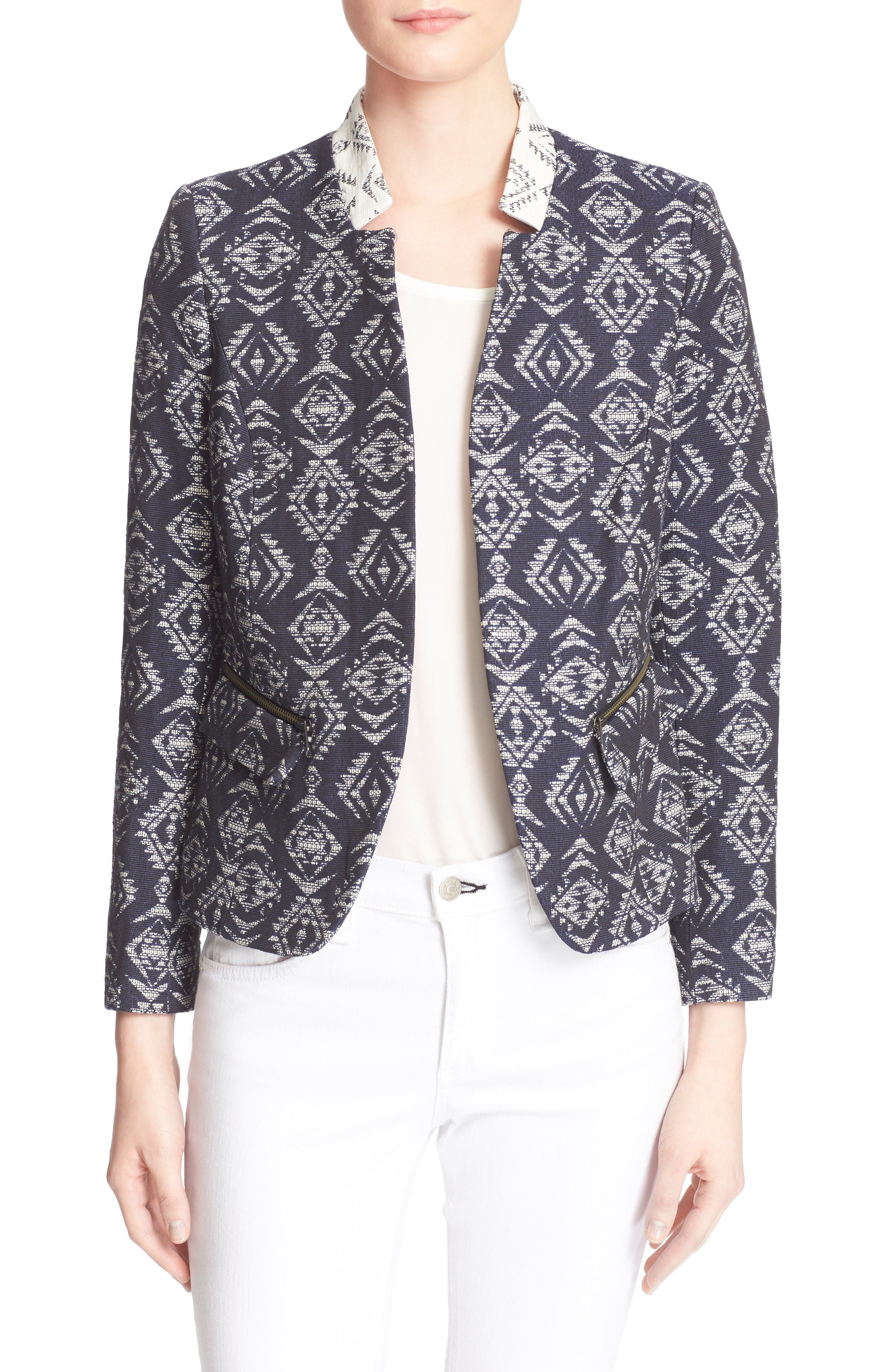 Main Image - Helene Berman Edge to Edge Geo Print Open Front Jacket