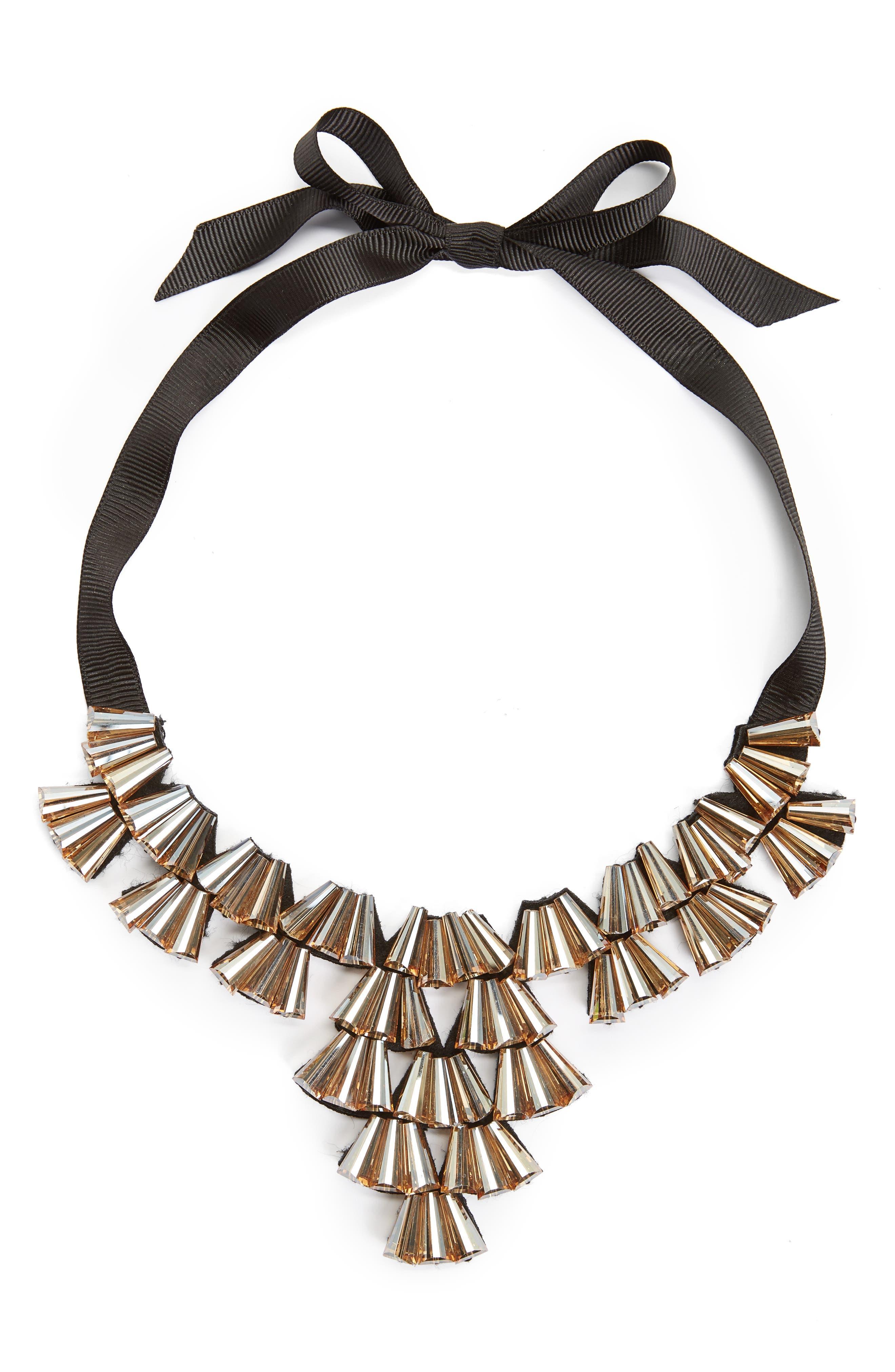 Main Image - Topshop Crystal Fan Collar Necklace