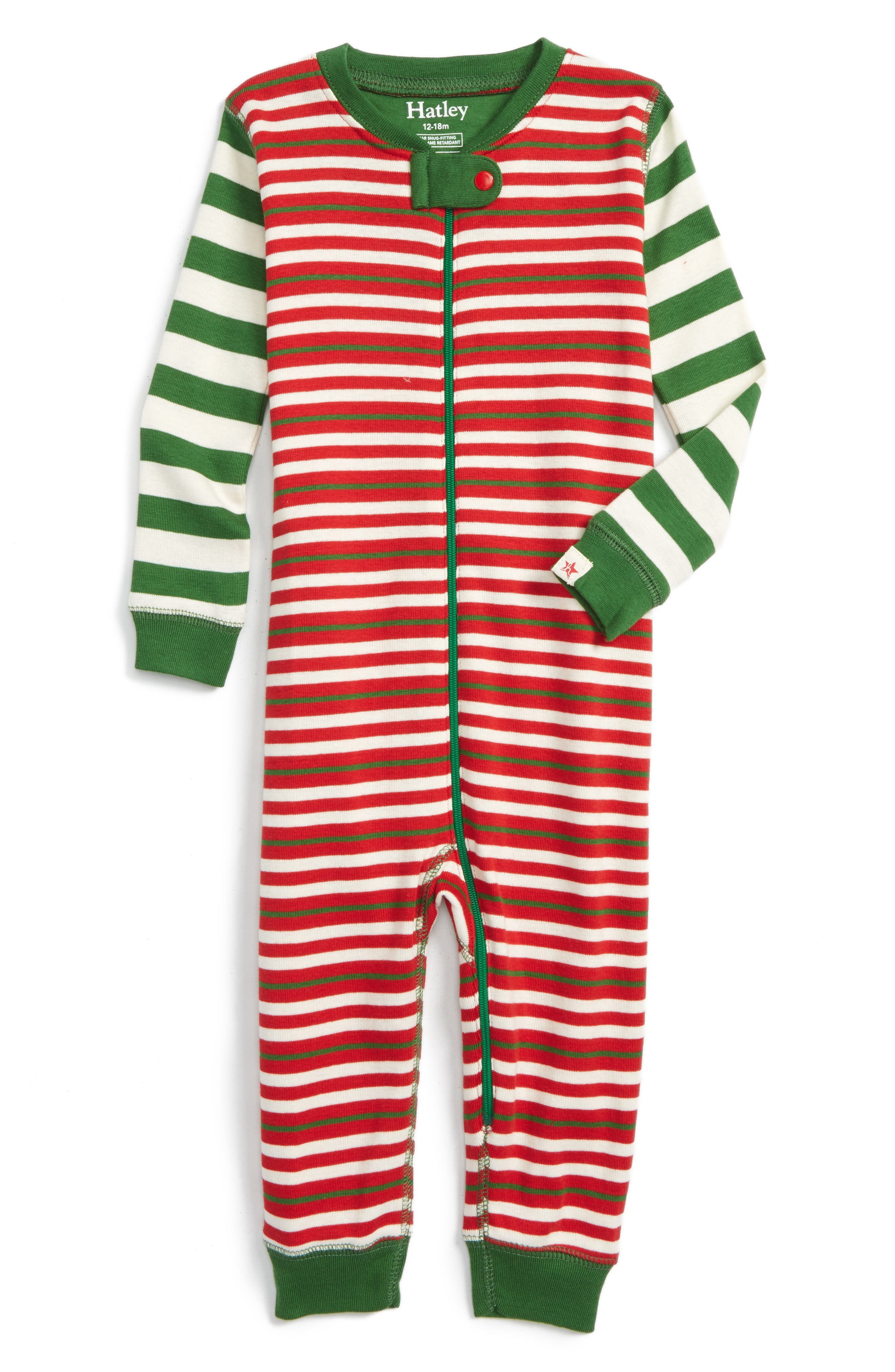 Hatley Holiday Stripe Fitted One-Piece Pajamas (Baby Girls ...