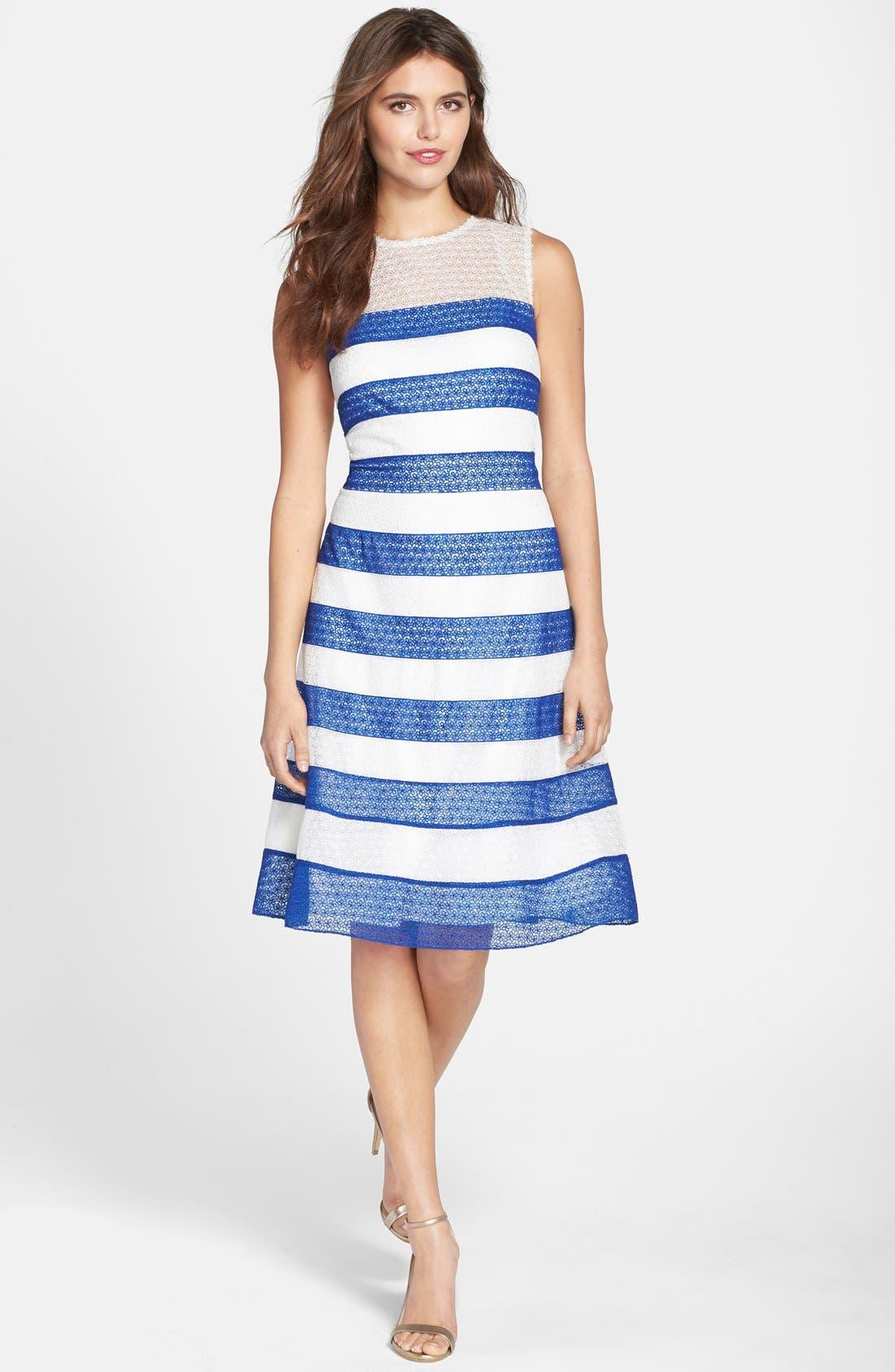 Alternate Image 3  - Tadashi Shoji Stripe Lace Fit & Flare Dress