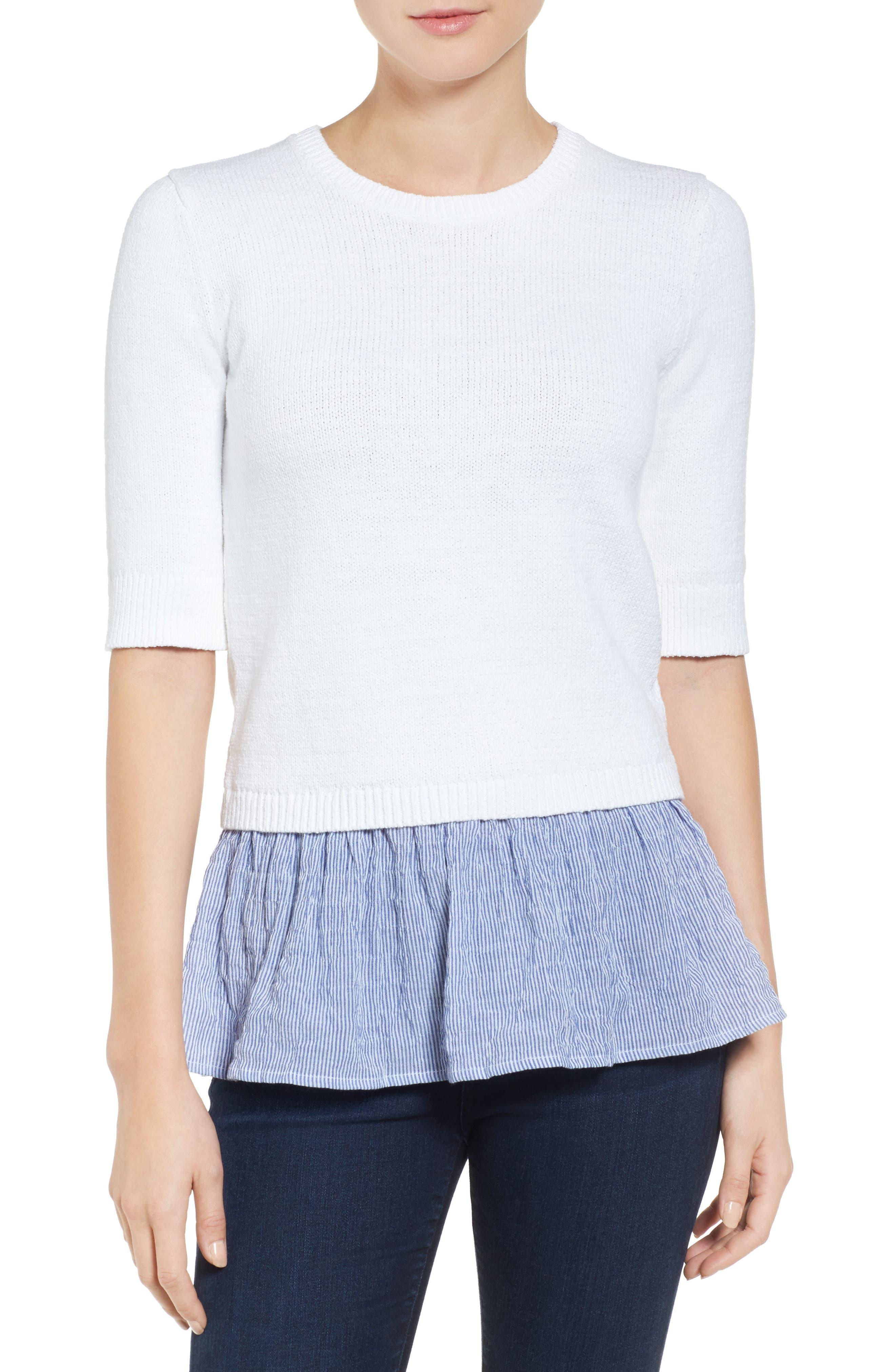 Alternate Image 1 Selected - MICHAEL Michael Kors Contrast Hem Cotton Blend Sweater