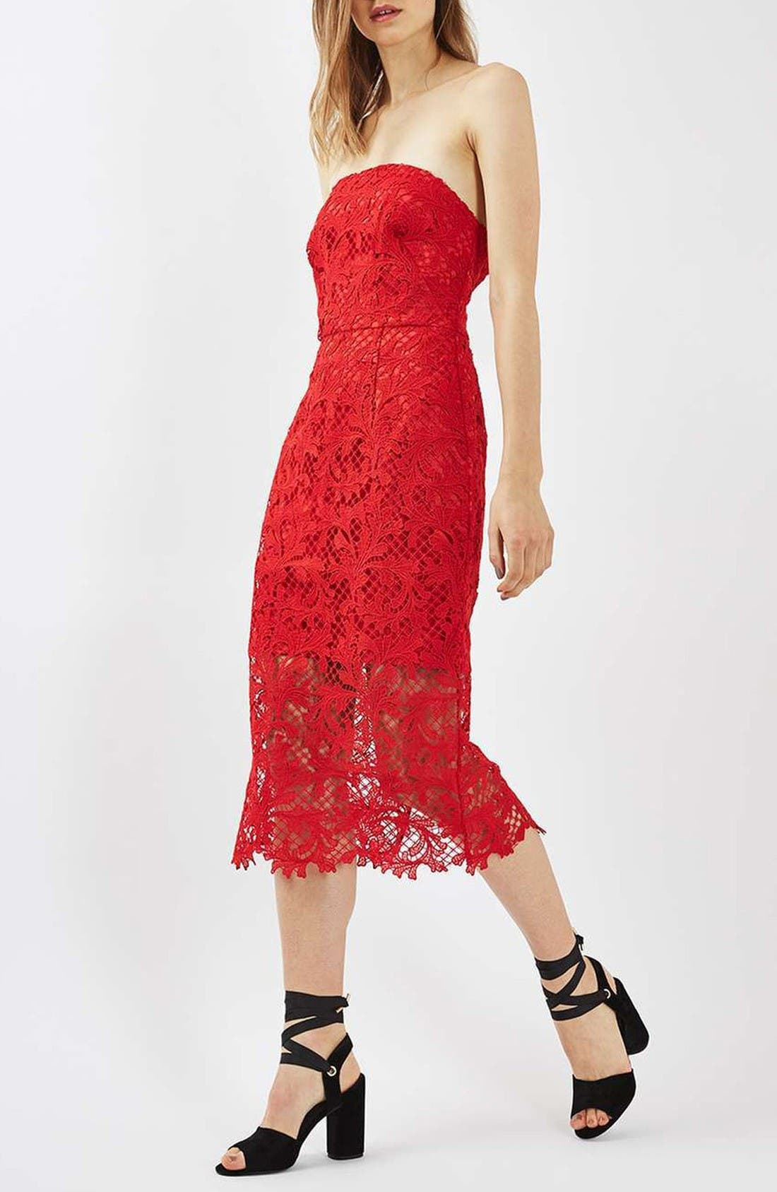 Alternate Image 1 Selected - Topshop Strapless Lace Midi Dress
