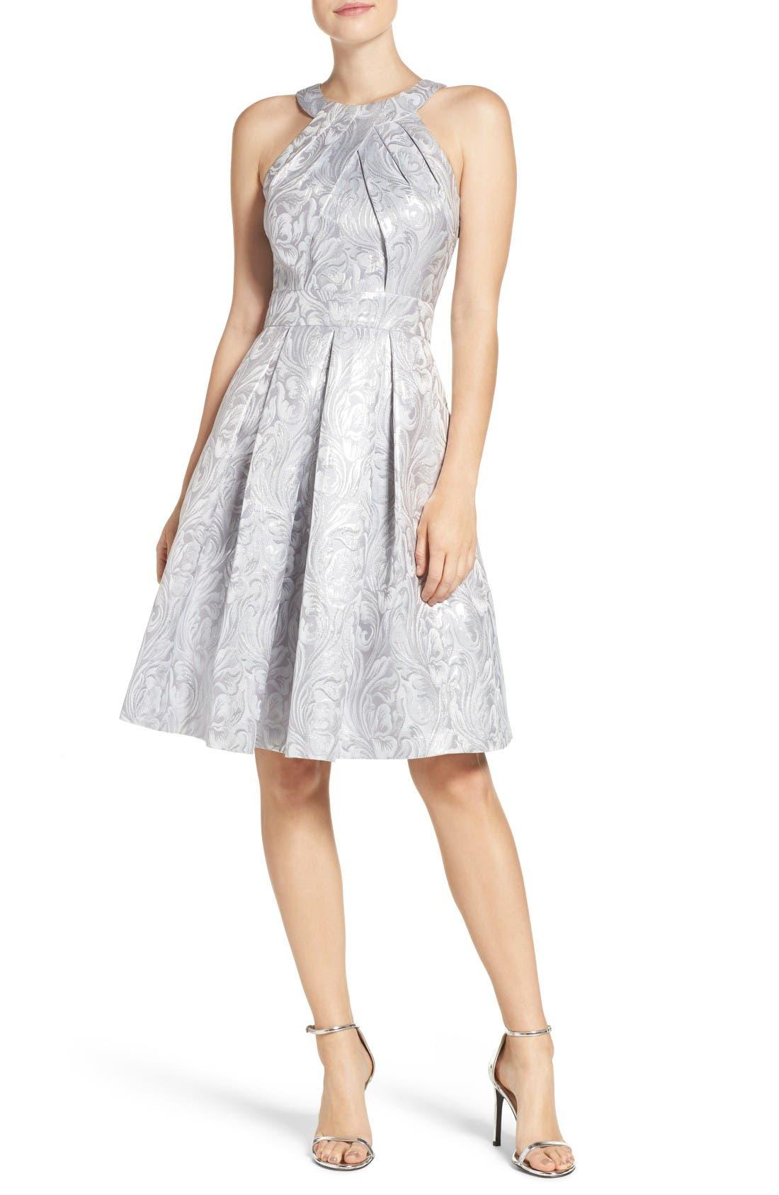 Alternate Image 1 Selected - Eliza J Jacquard Fit & Flare Dress