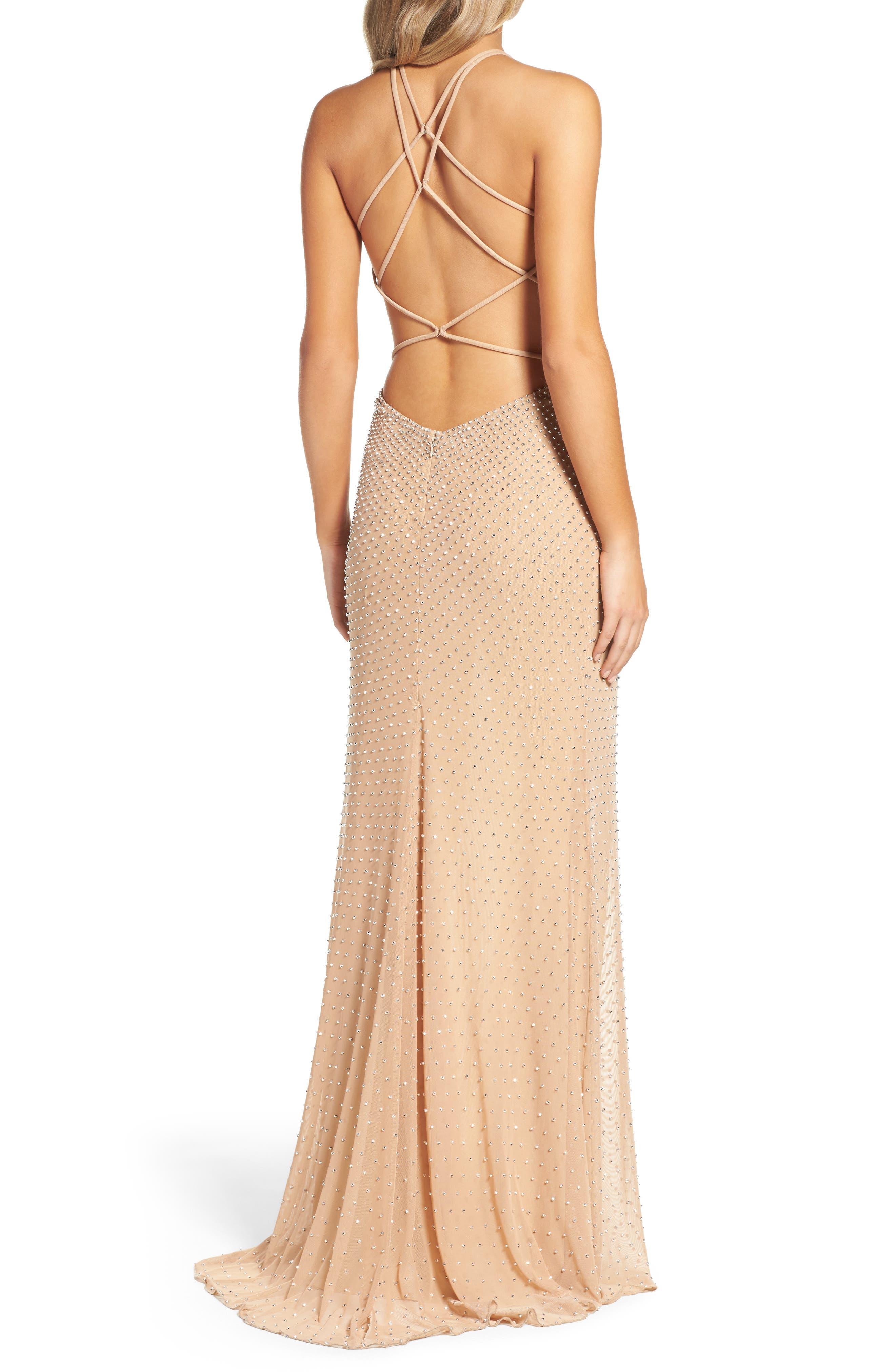 Alternate Image 2  - La Femme Beaded Column Gown