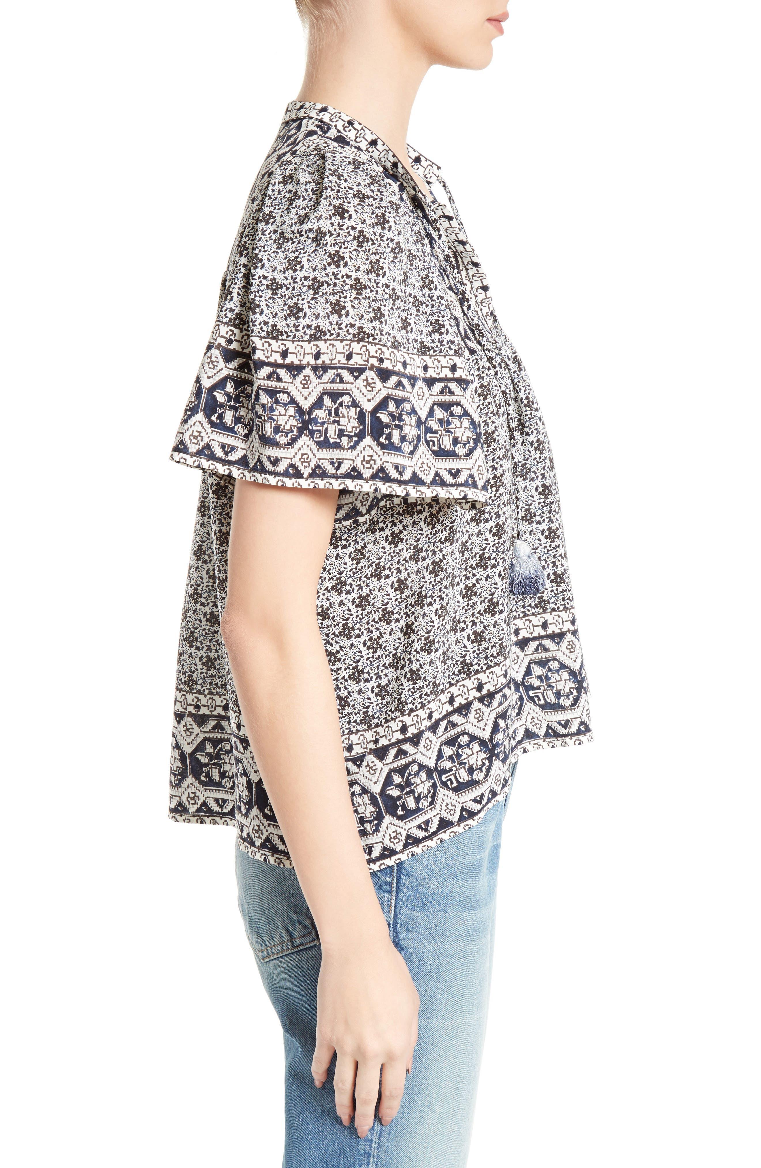 Alternate Image 3  - Sea Camelia Print Silk Blouse