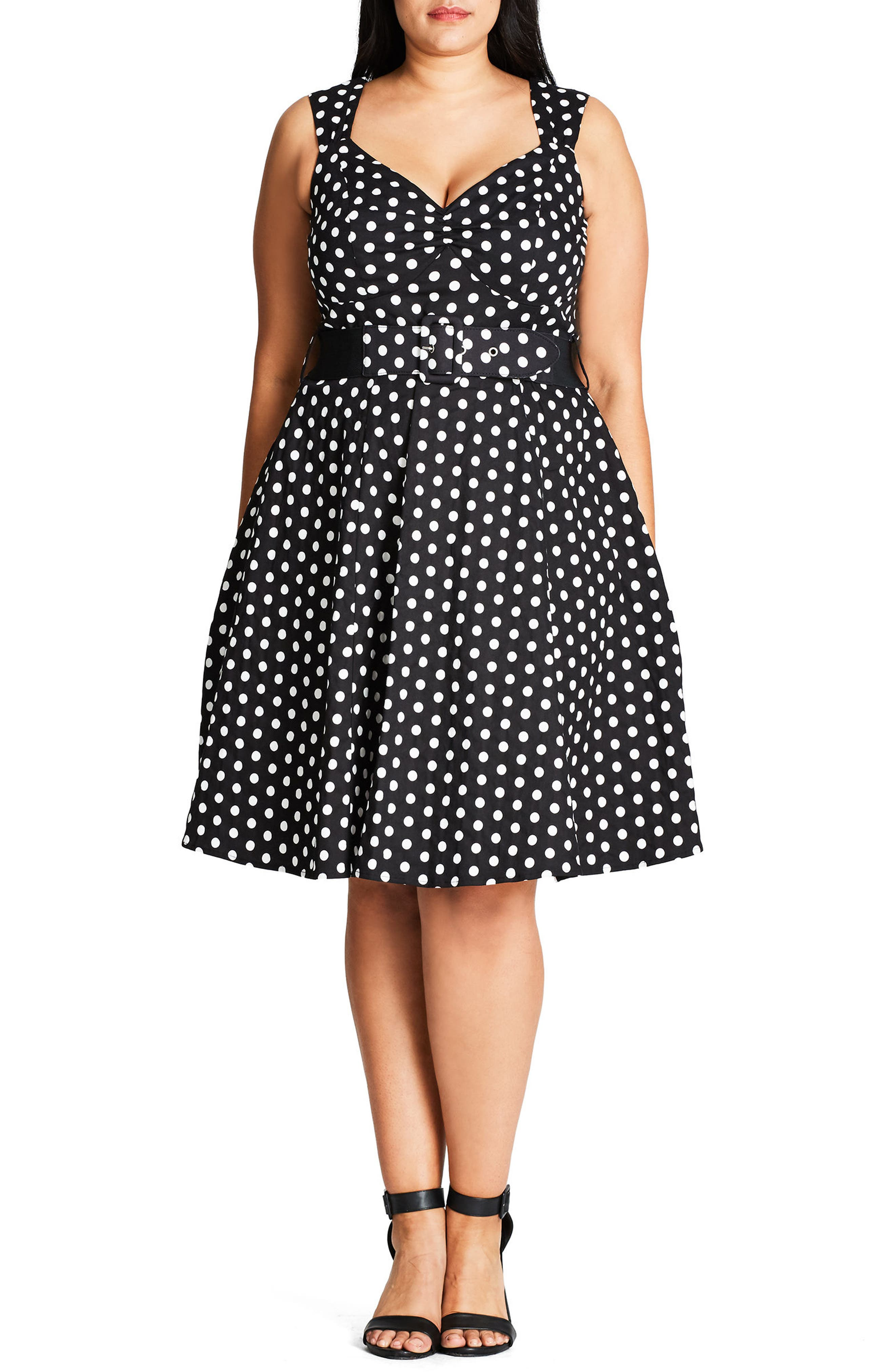 CITY CHIC Pin-Up Belted Spot Print Dress