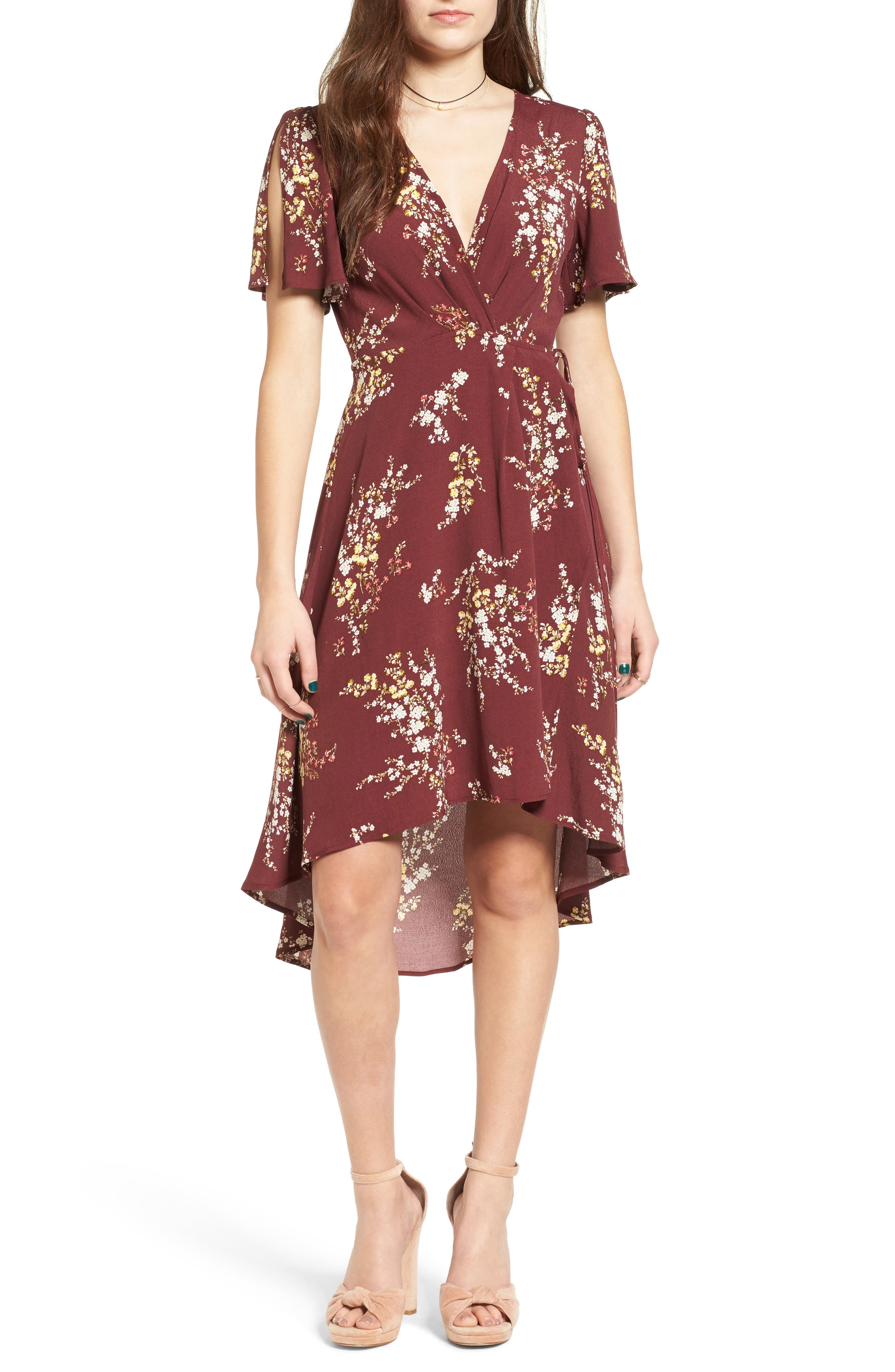Main Image - ASTR the Label Adeline Floral Print Wrap Dress