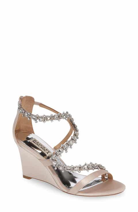 badgley mischka bennet embellished wedge sandal women