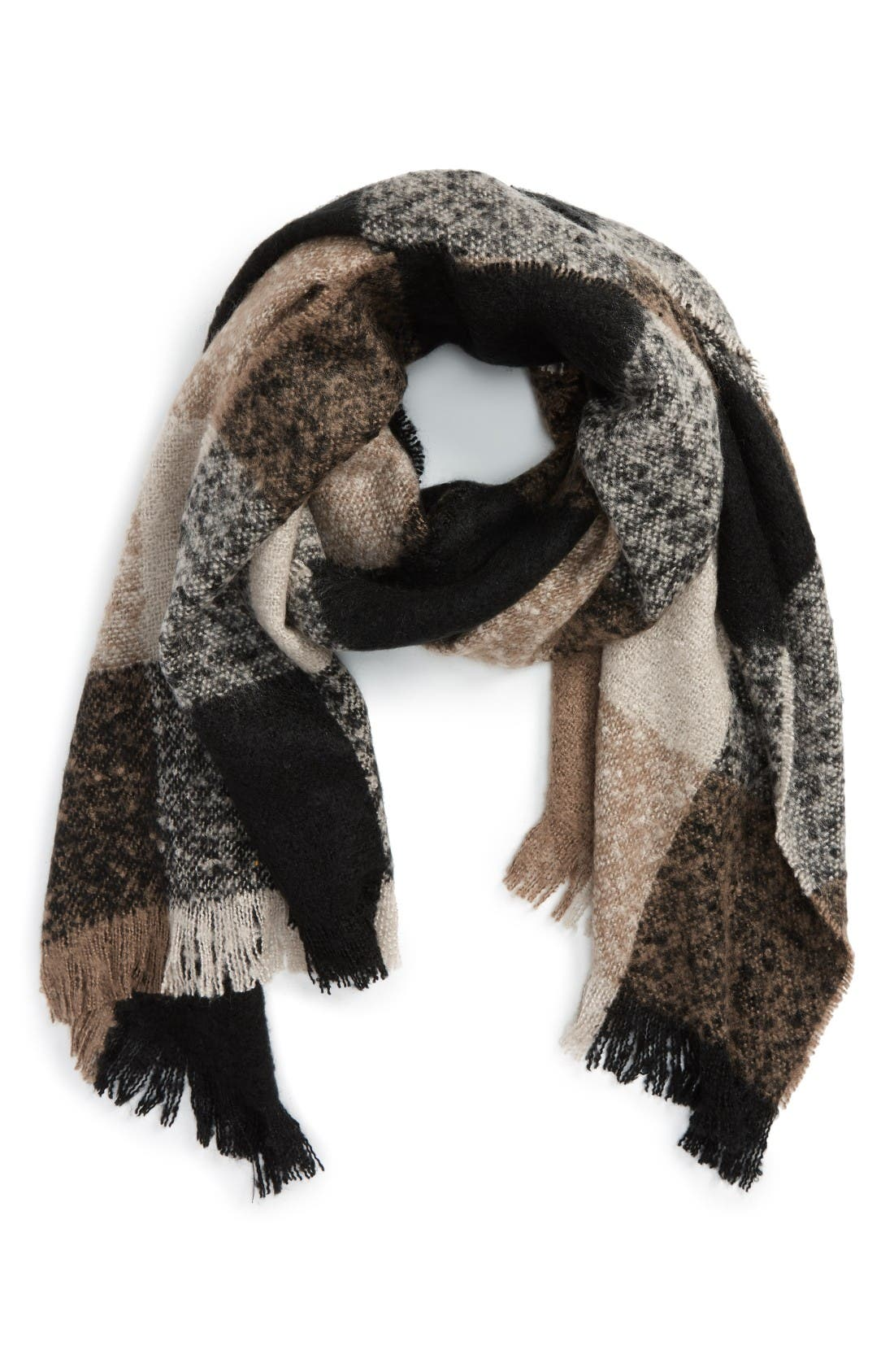 Alternate Image 1 Selected - Sole Society Check Blanket Scarf