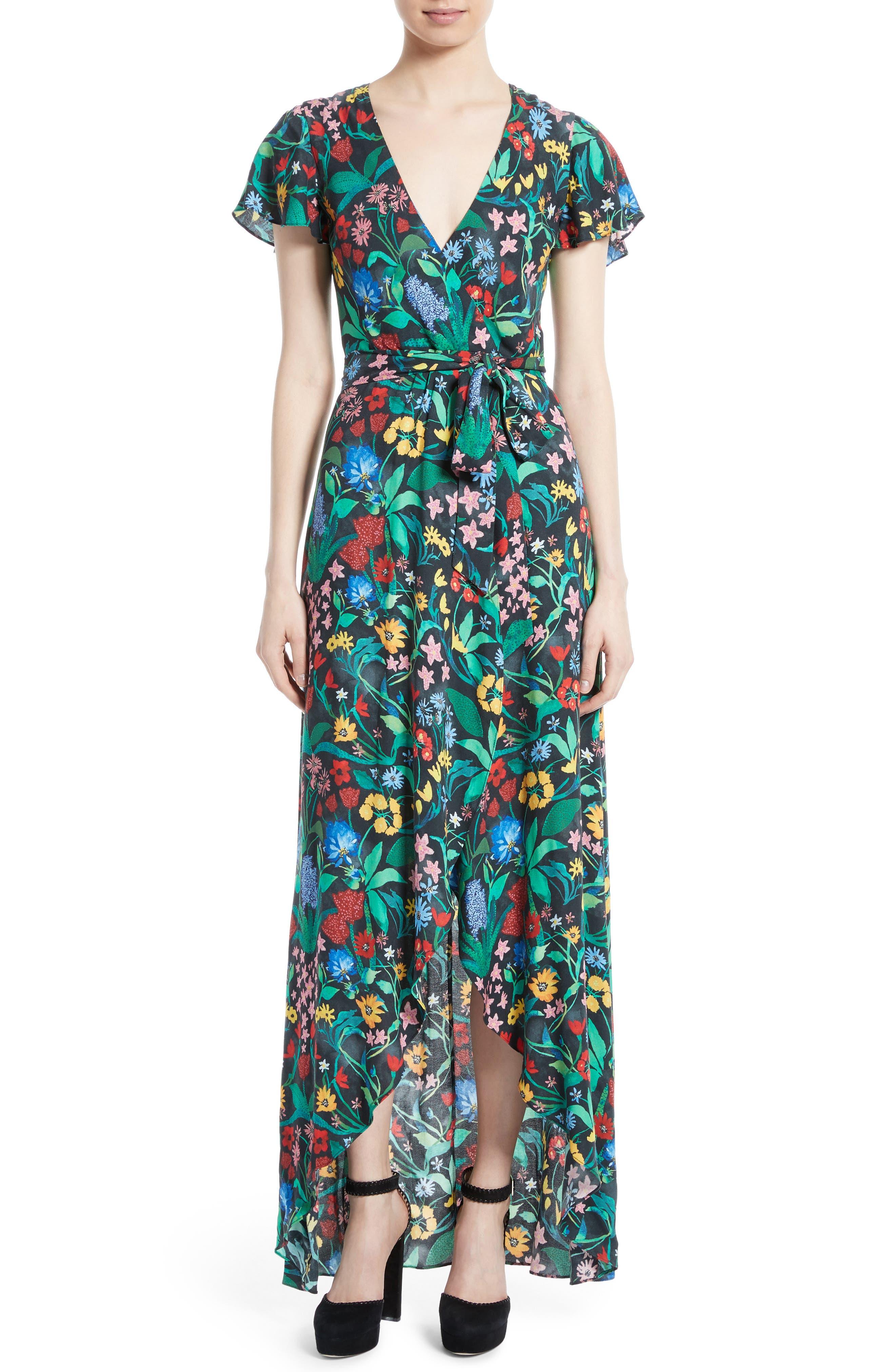 Main Image - Alice + Olivia Adrianna Floral Faux Wrap Maxi Dress