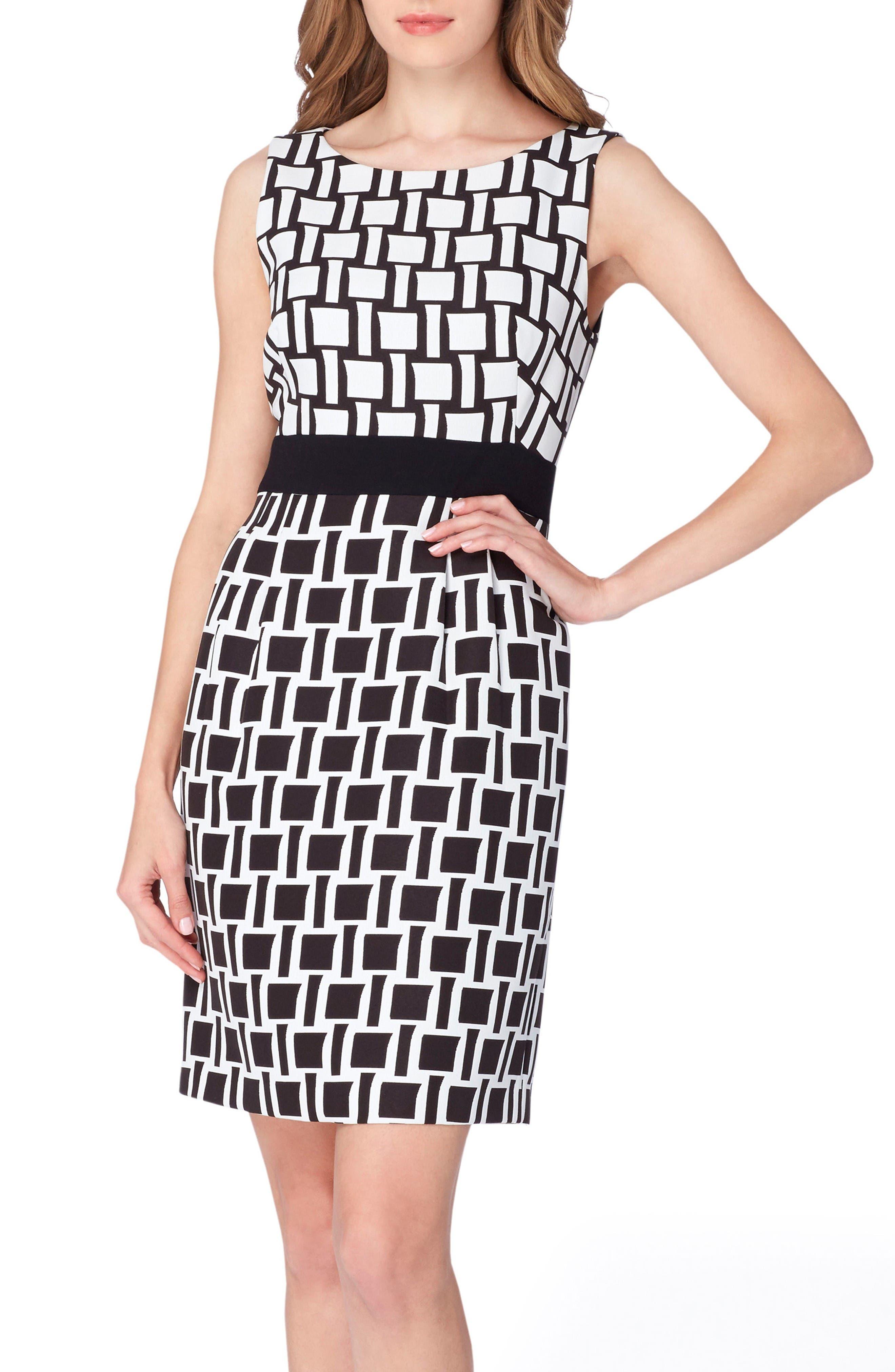 TAHARI Jacquard Print Sheath Dress