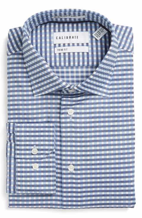 Calibrate Trim Fit Non-Iron Check Stretch Dress Shirt