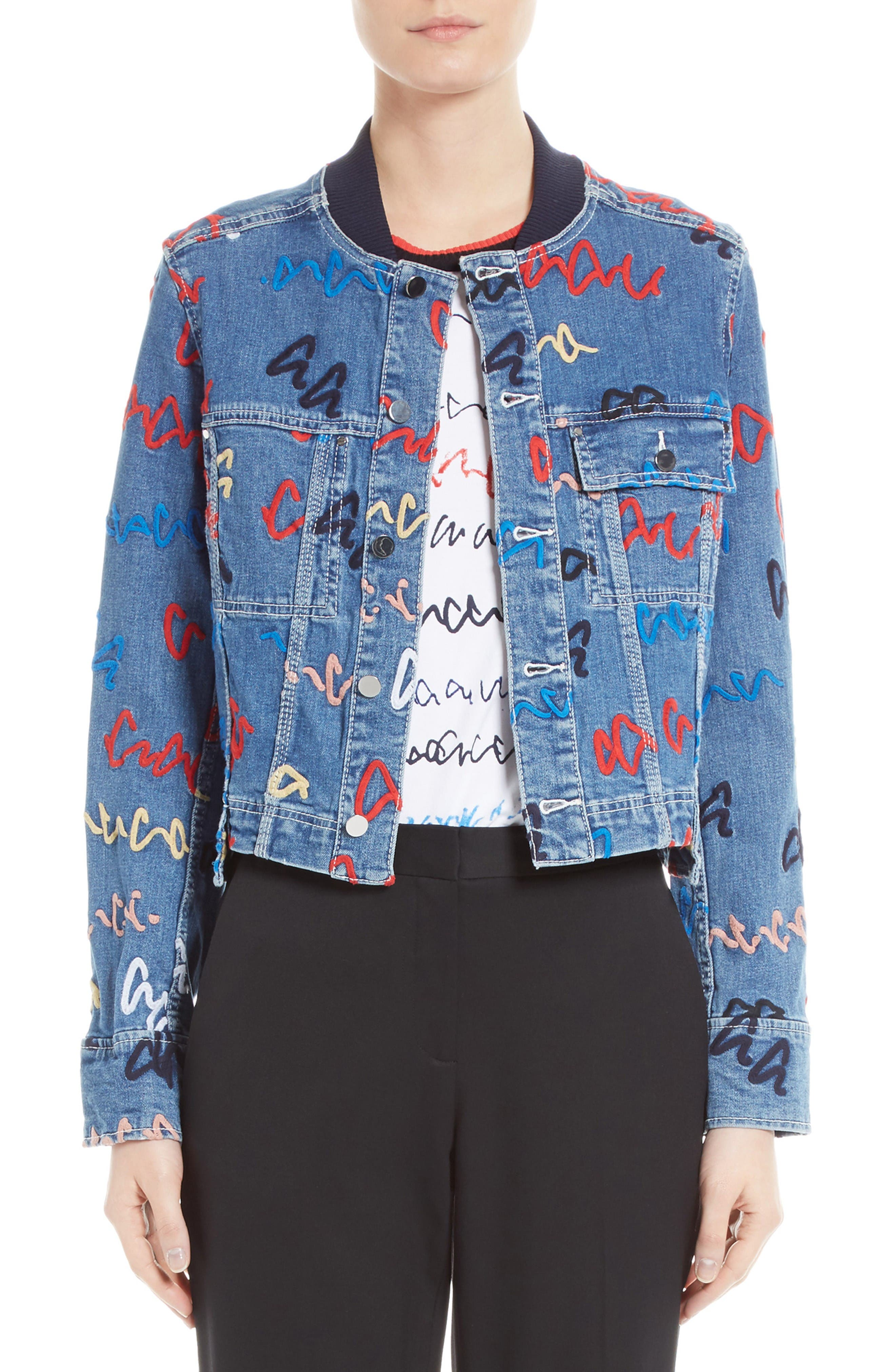 GREY JASON WU Scribble Embroidered Denim Jacket