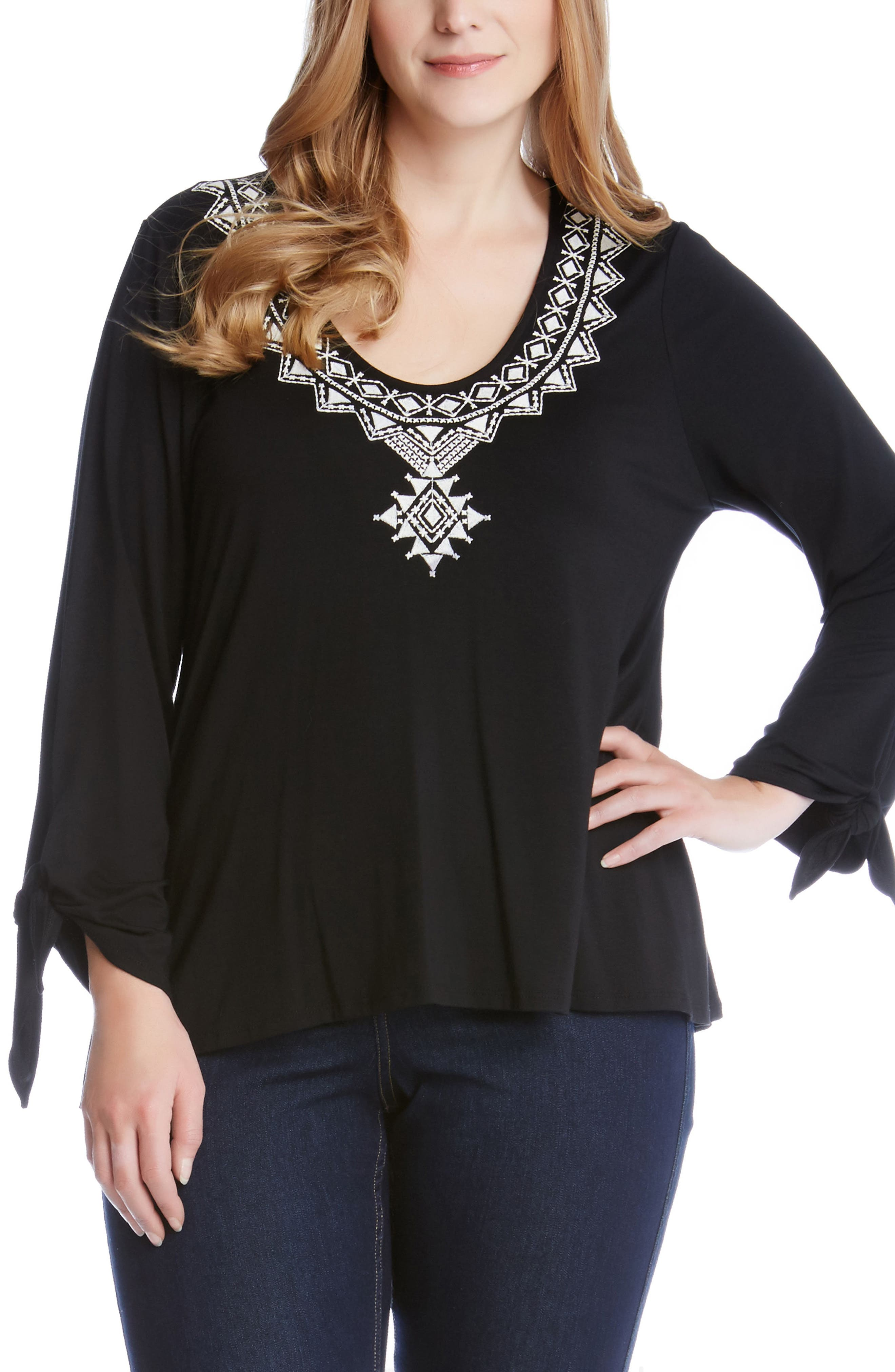 KAREN KANE Embroidered Tie Sleeve Top