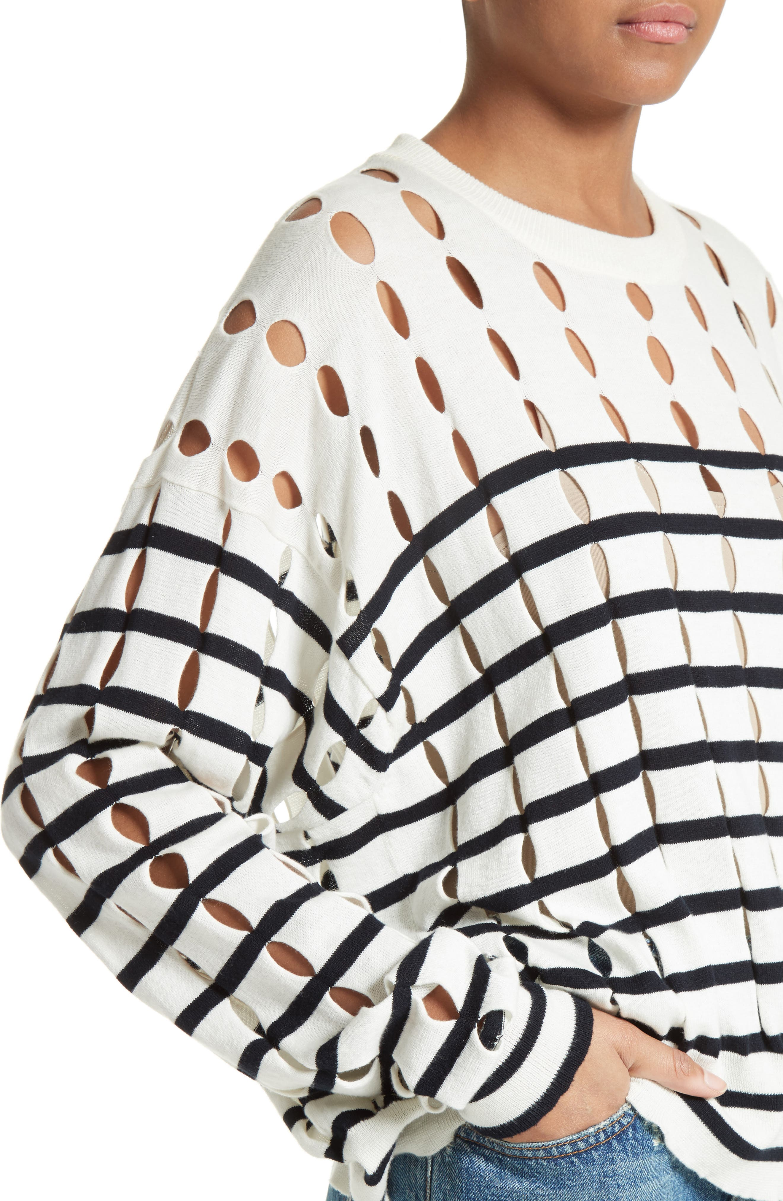 Alternate Image 4  - T by Alexander Wang Stripe Cotton Pullover