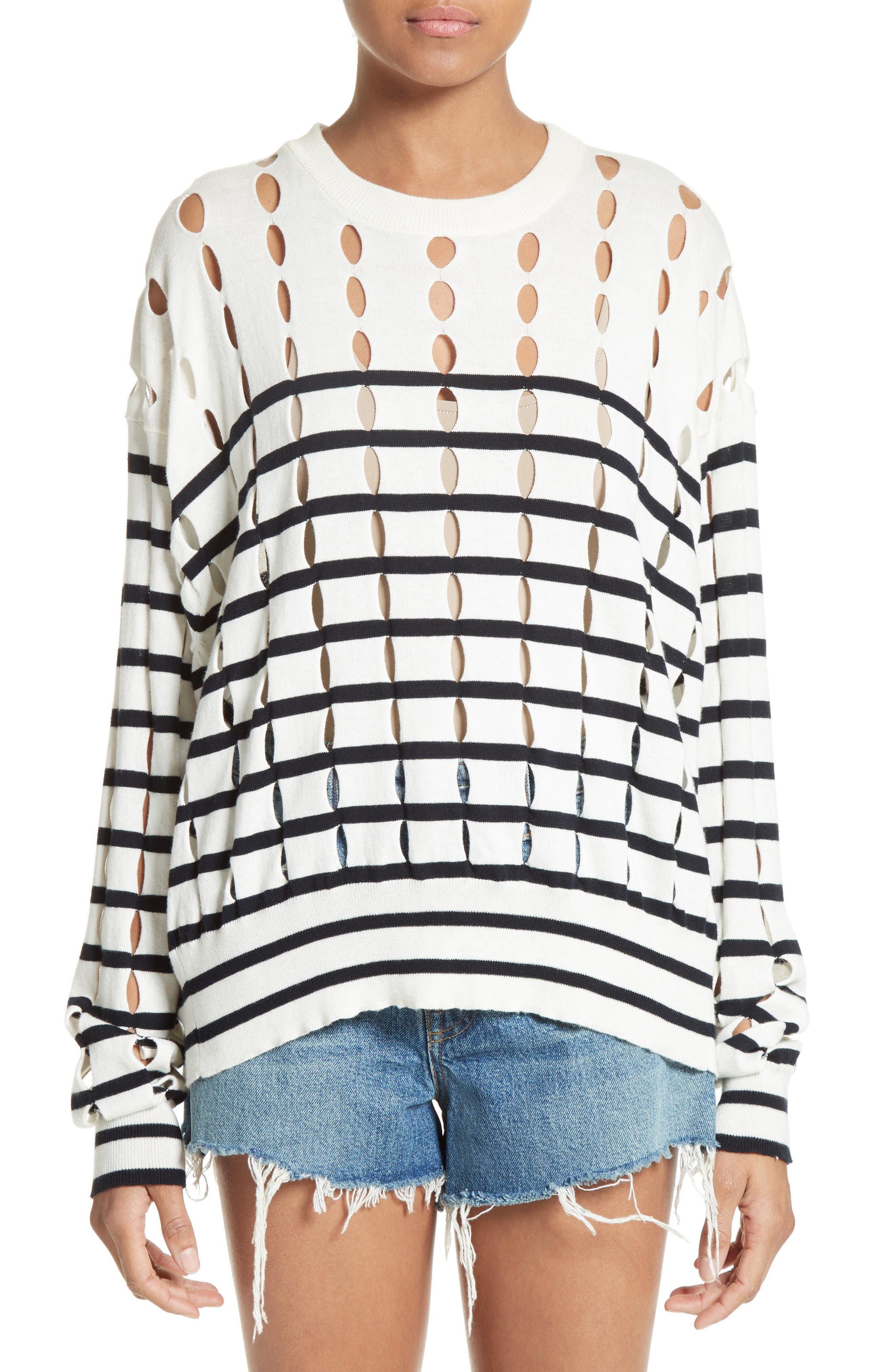 Alternate Image 1 Selected - T by Alexander Wang Stripe Cotton Pullover