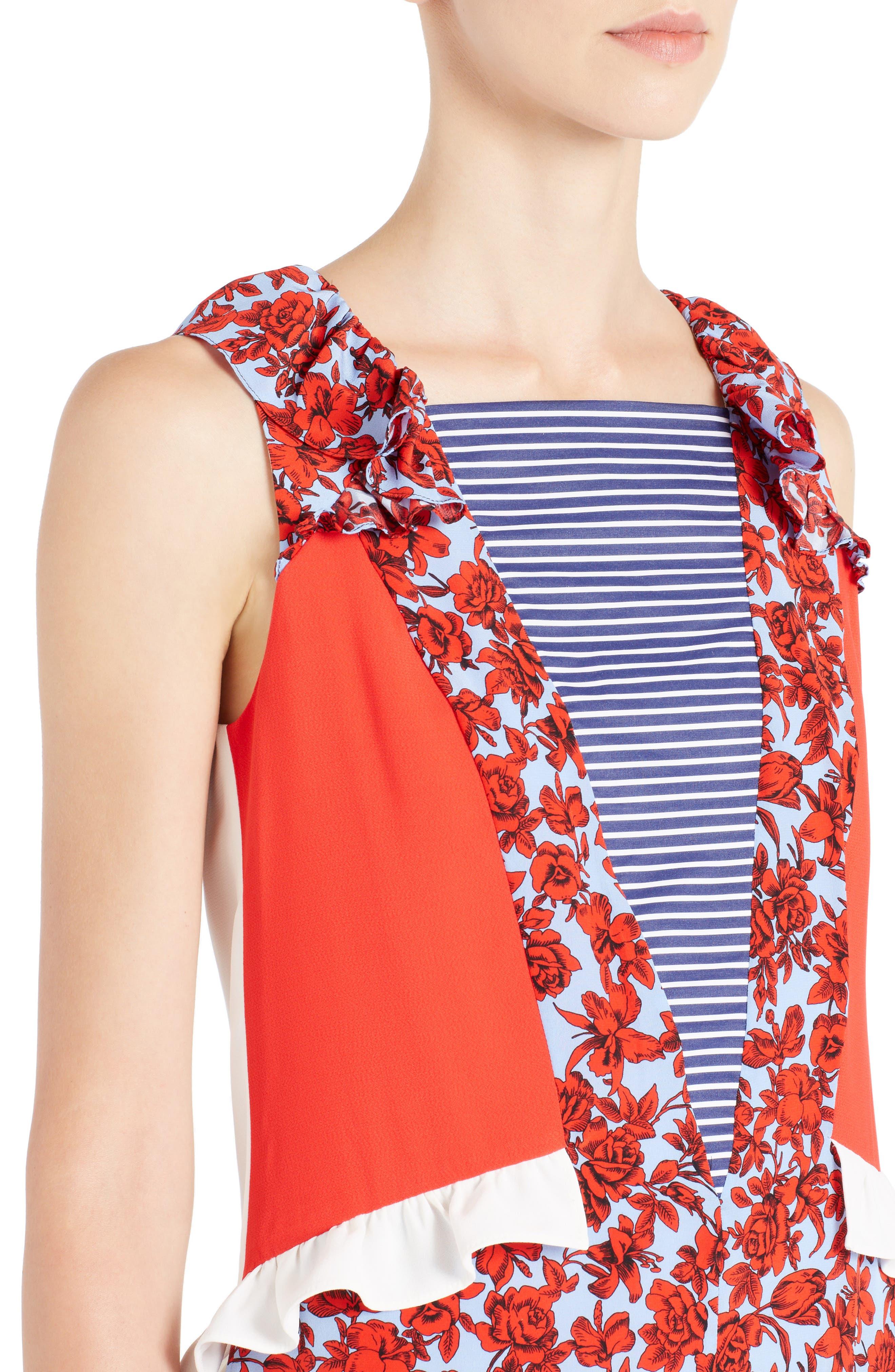 Alternate Image 4  - MSGM Floral Patchwork Silk Dress