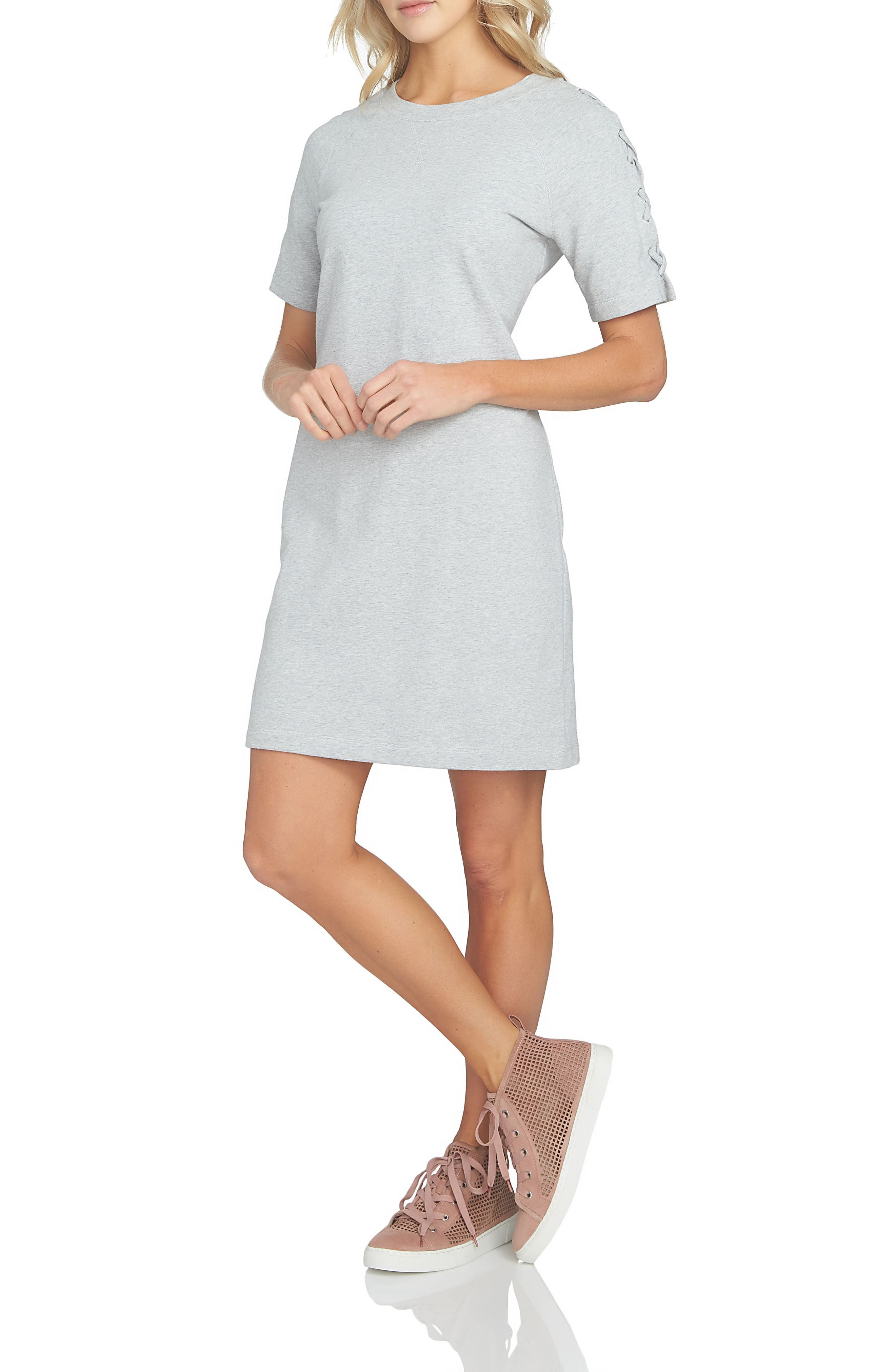 1.STATE 1. STATE Lace-Up Sleeve T-Shirt Dress
