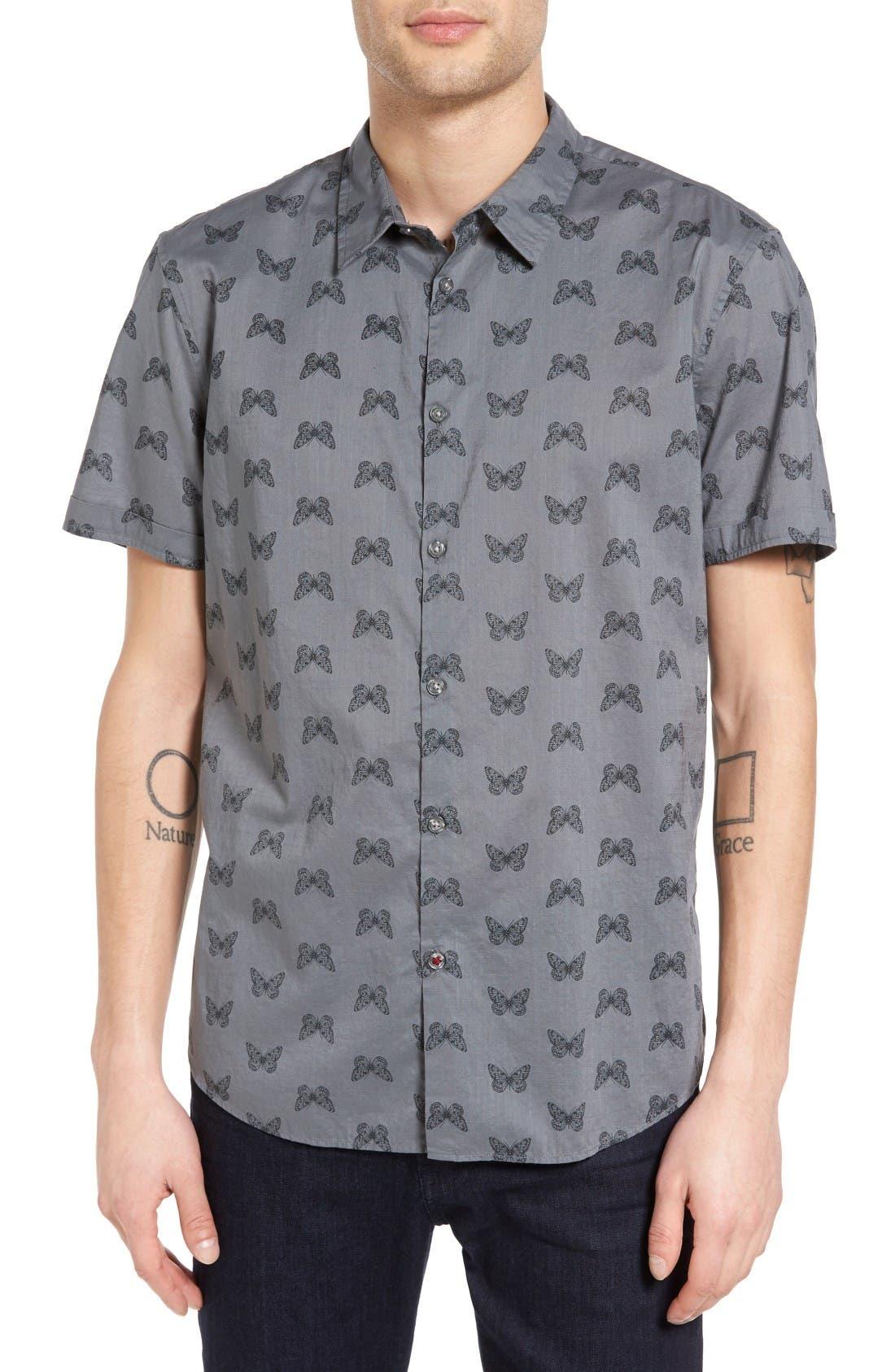 John Varvatos Star USA Mayfield Slim Fit Butterfly Print Sport Shirt