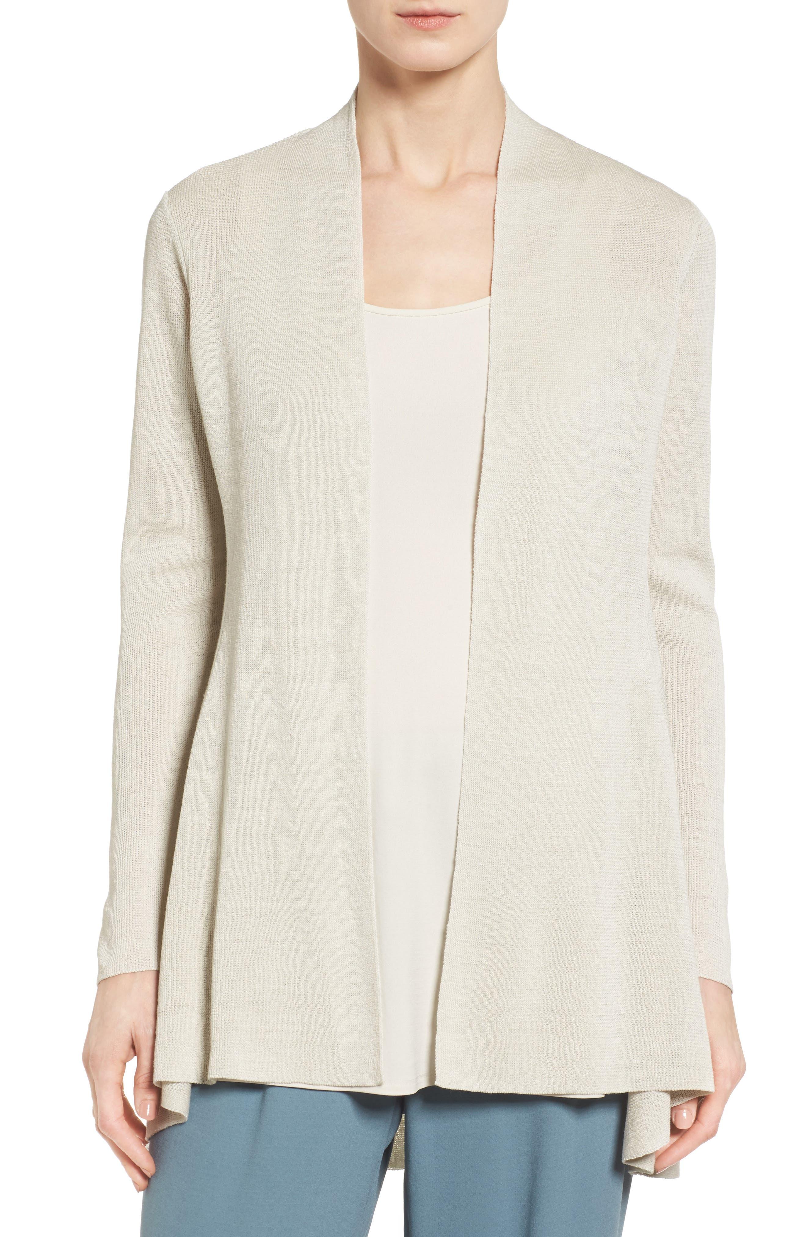 Main Image - Eileen Fisher Shaped Organic Linen Blend Cardigan (Regular & Petite)