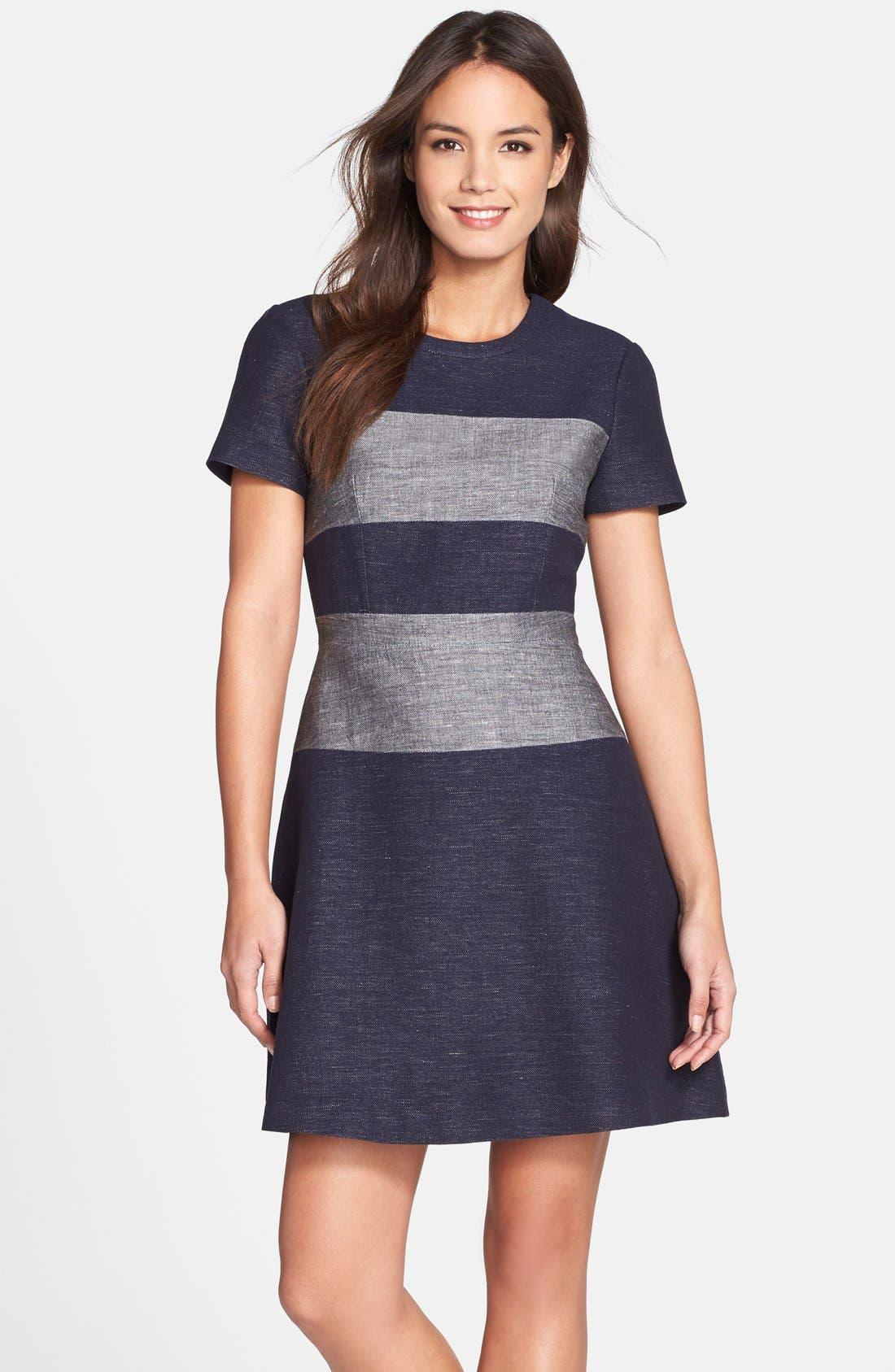 Alternate Image 1 Selected - BCBGMAXAZRIA 'Romee' Stripe Fit & Flare Dress