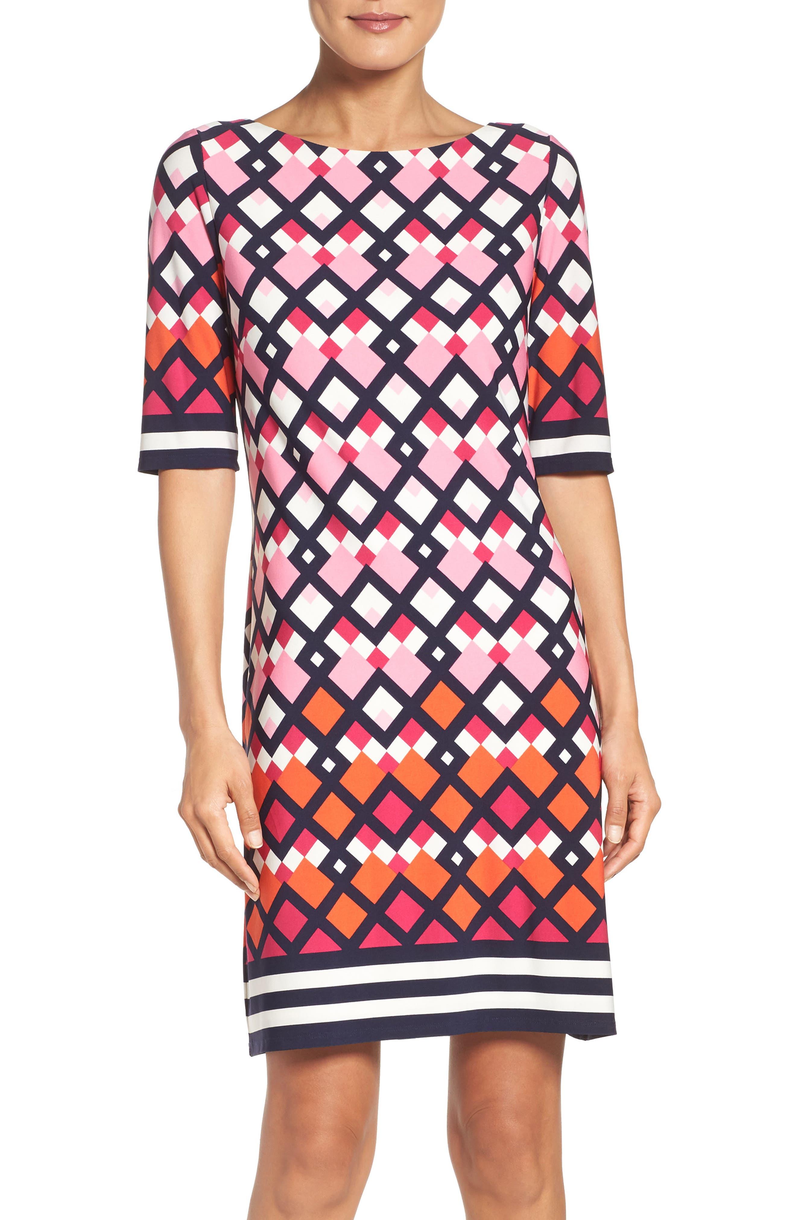 Main Image - Eliza J Border Print Shift Dress (Regular & Petite)