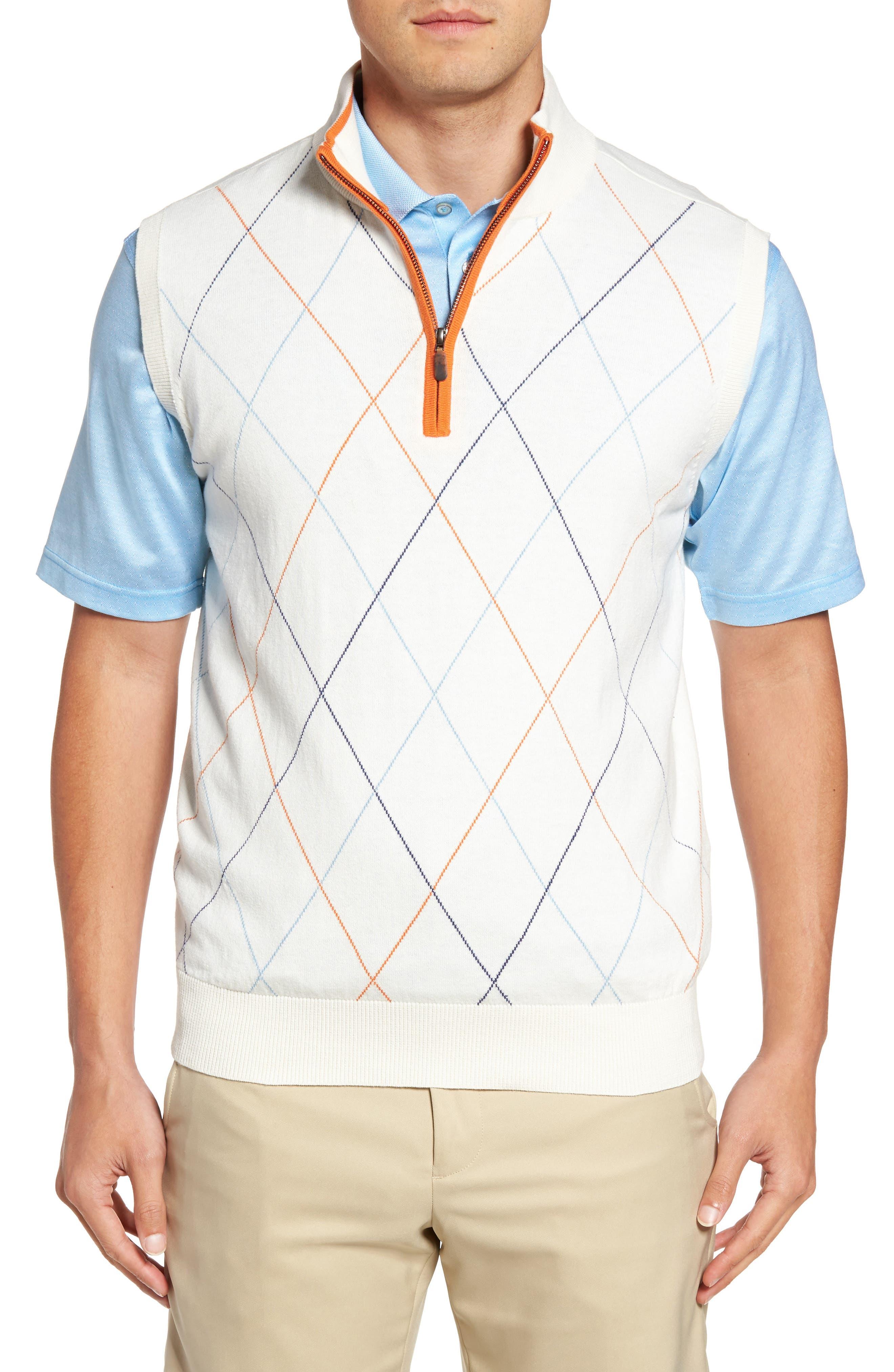 Bobby Jones Argyle Quarter Zip Sweater Vest