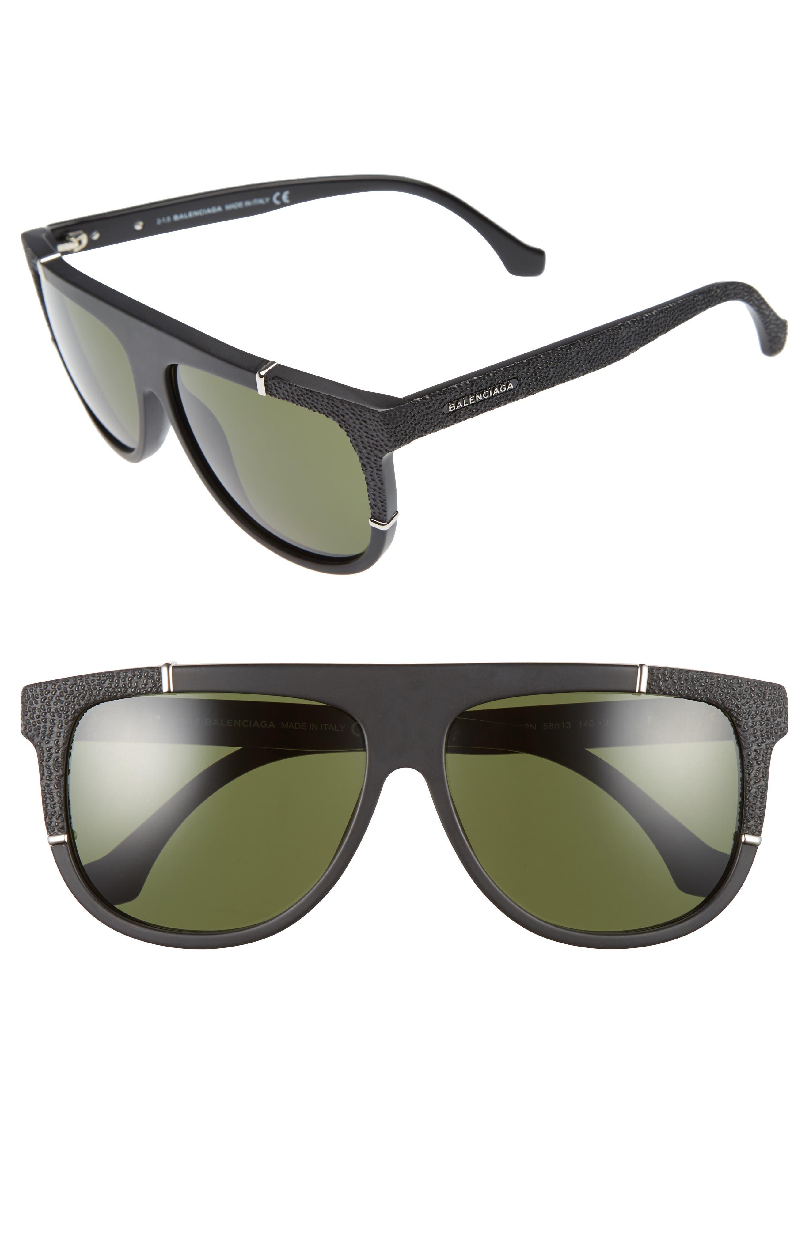 Balenciaga Paris 58mm Flat Top Sunglasses