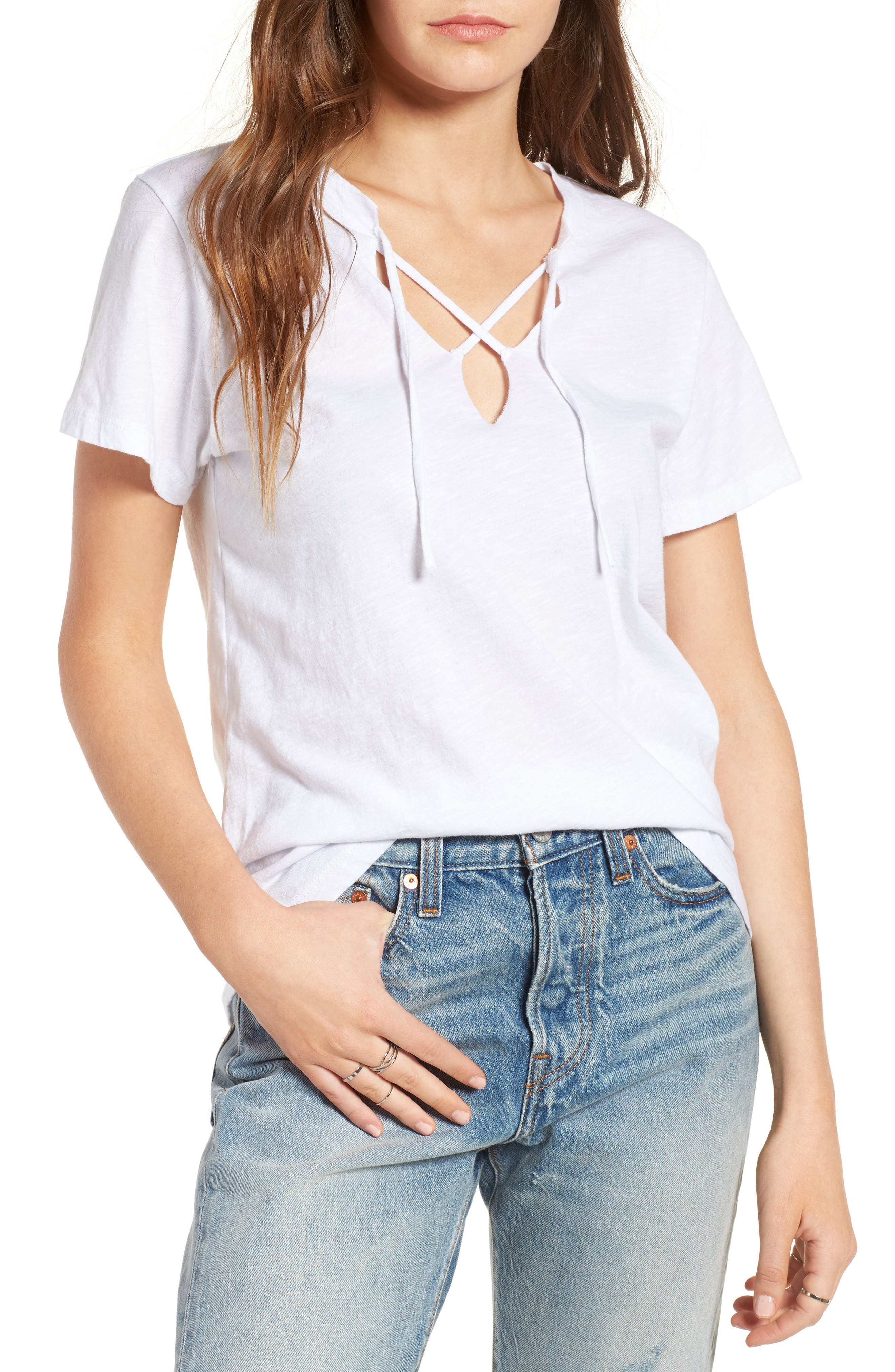 Alternate Image 1 Selected - LNA Raw Edge Lace-Up Tee
