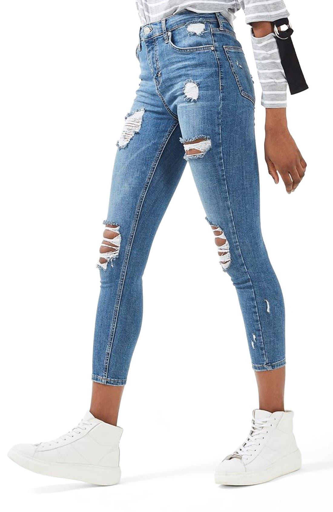 Alternate Image 5  - Topshop Moto Jamie Super Rip Skinny Jeans (Petite)