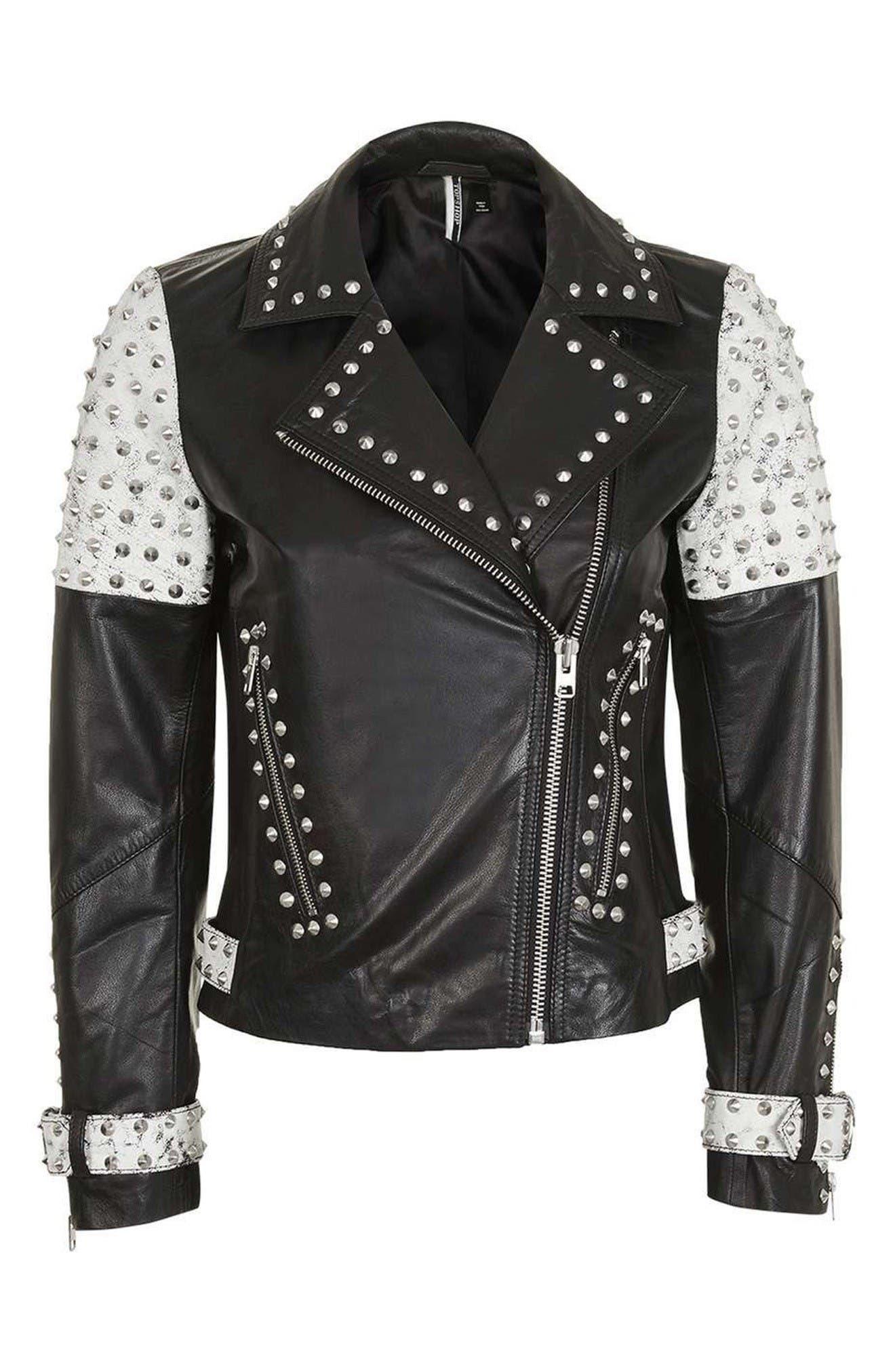 Alternate Image 4  - Topshop Maddox Studded Leather Jacket