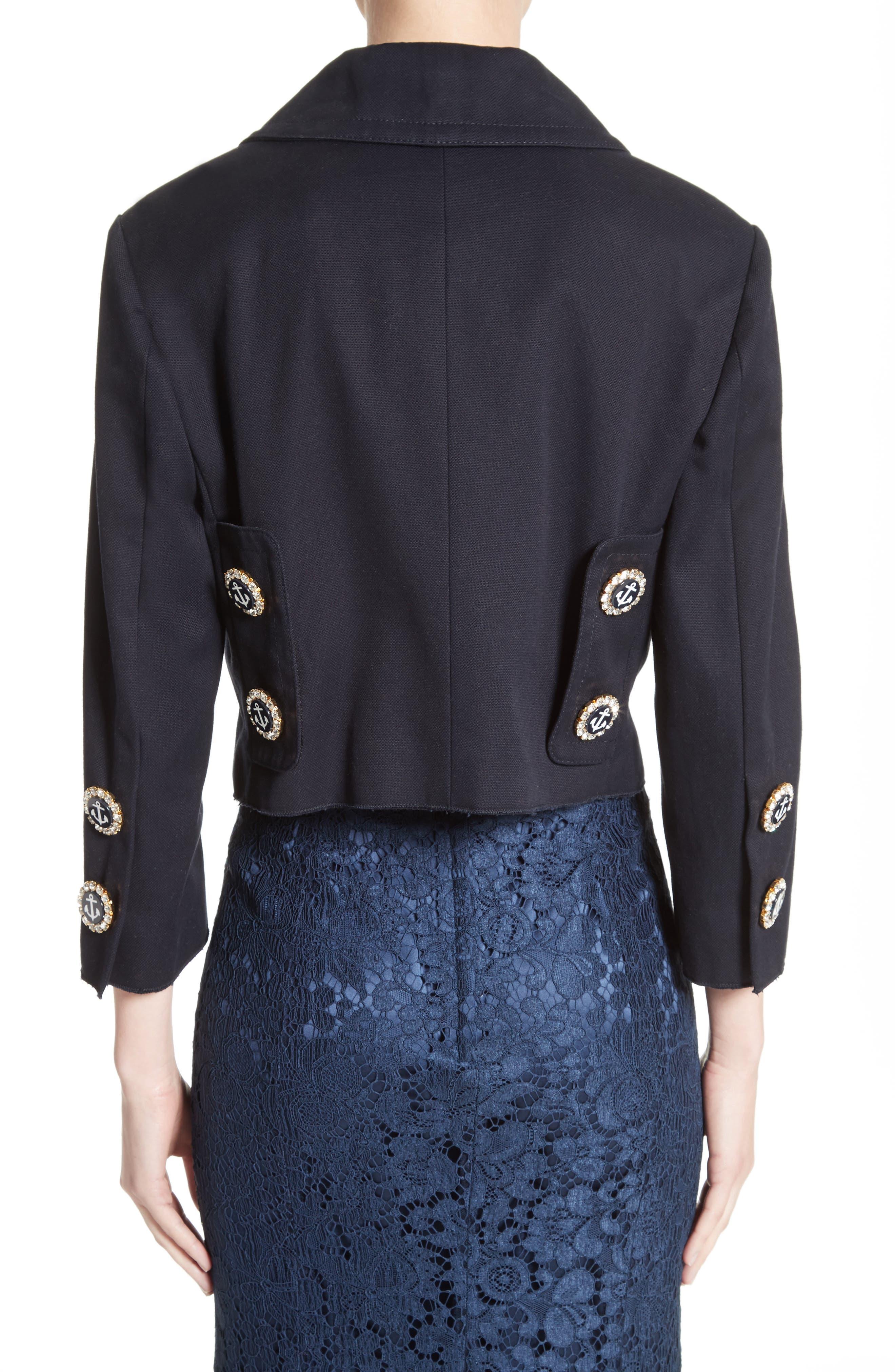 Alternate Image 2  - Dolce&Gabbana Piqué Cotton Crop Jacket