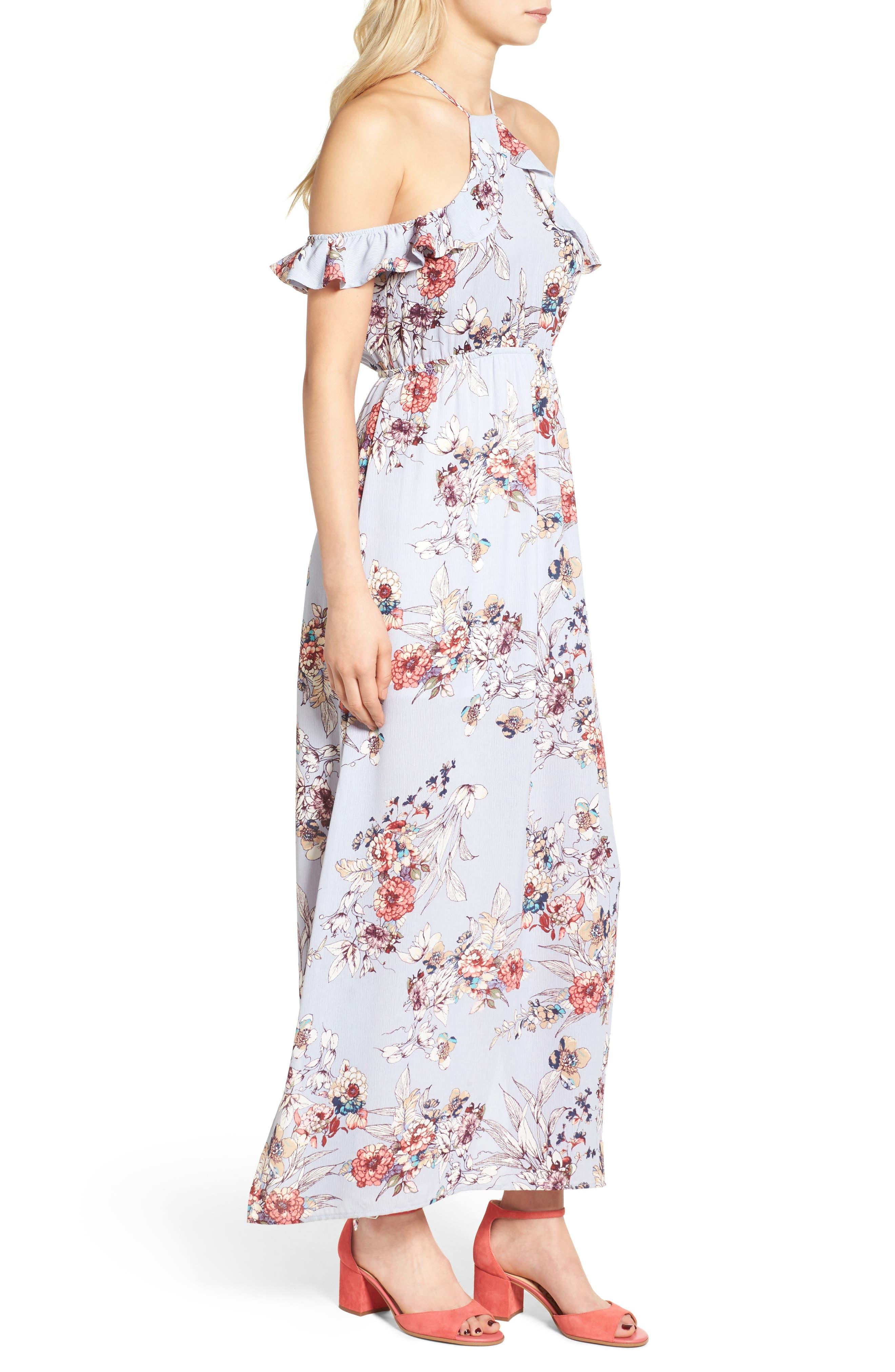 Alternate Image 3  - One Clothing Floral Cold Shoulder Maxi Dress