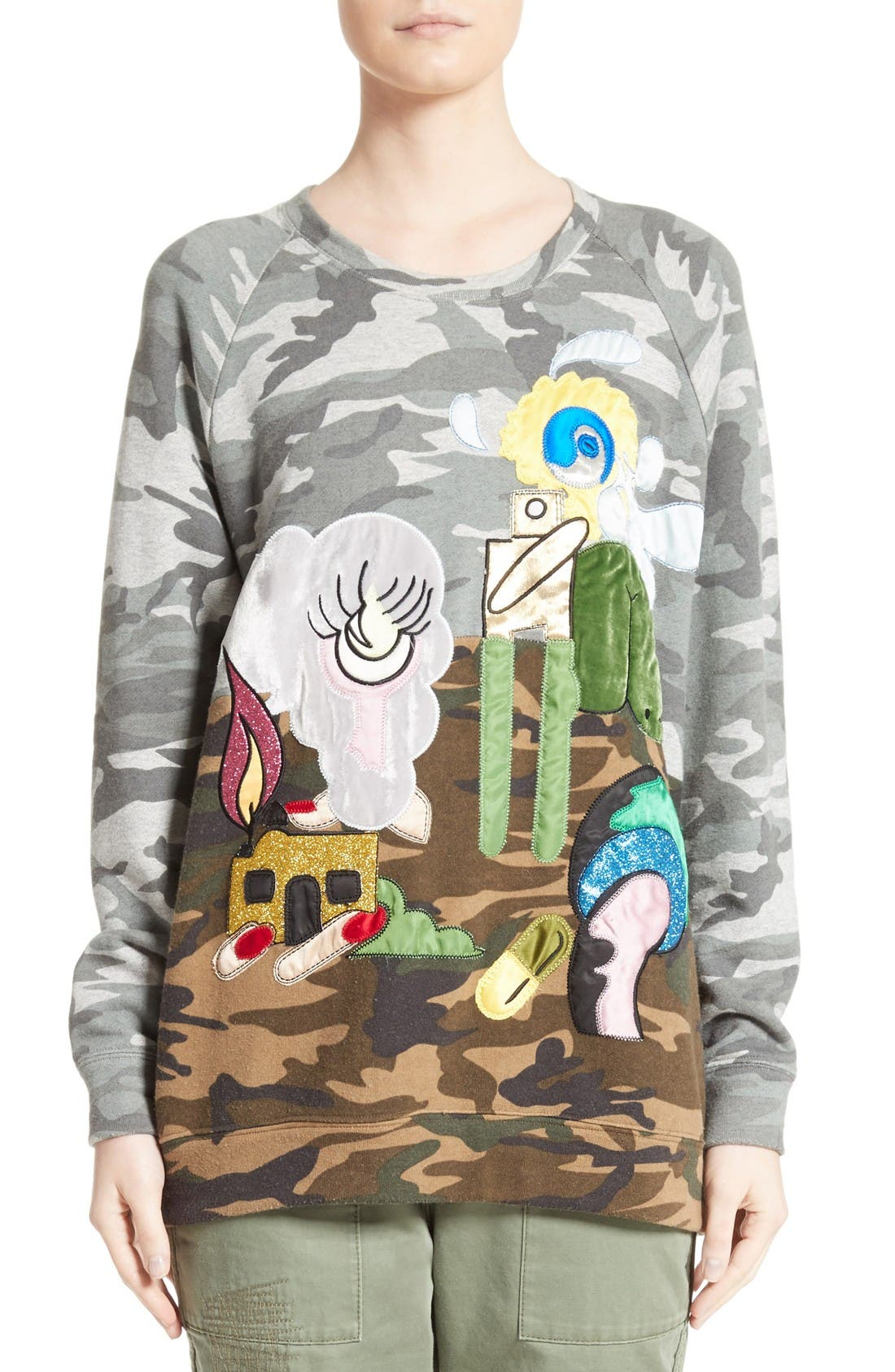 MARC JACOBS Embroidered Camo Print Sweatshirt