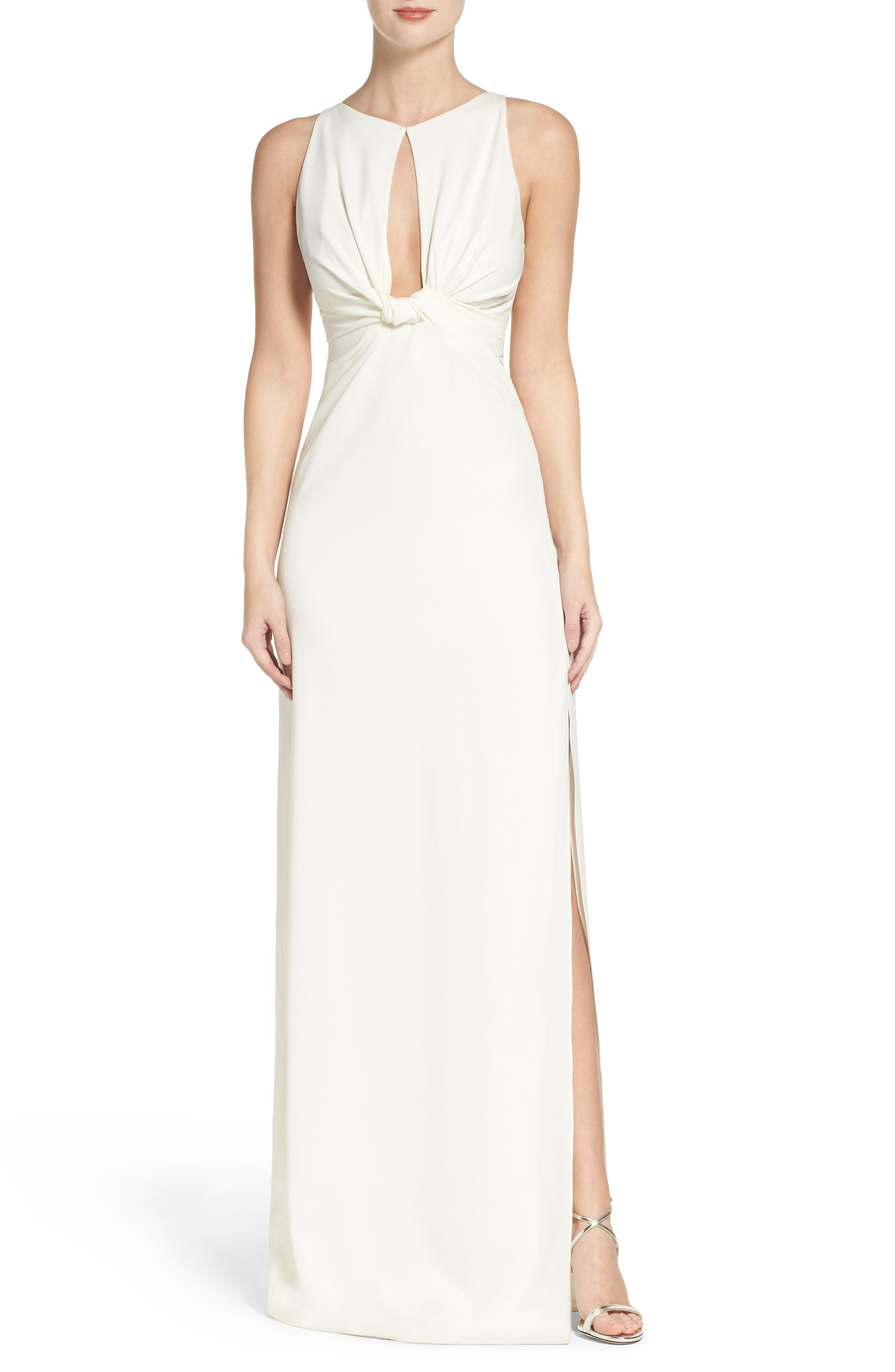 Halston Heritage Crepe Knot Gown
