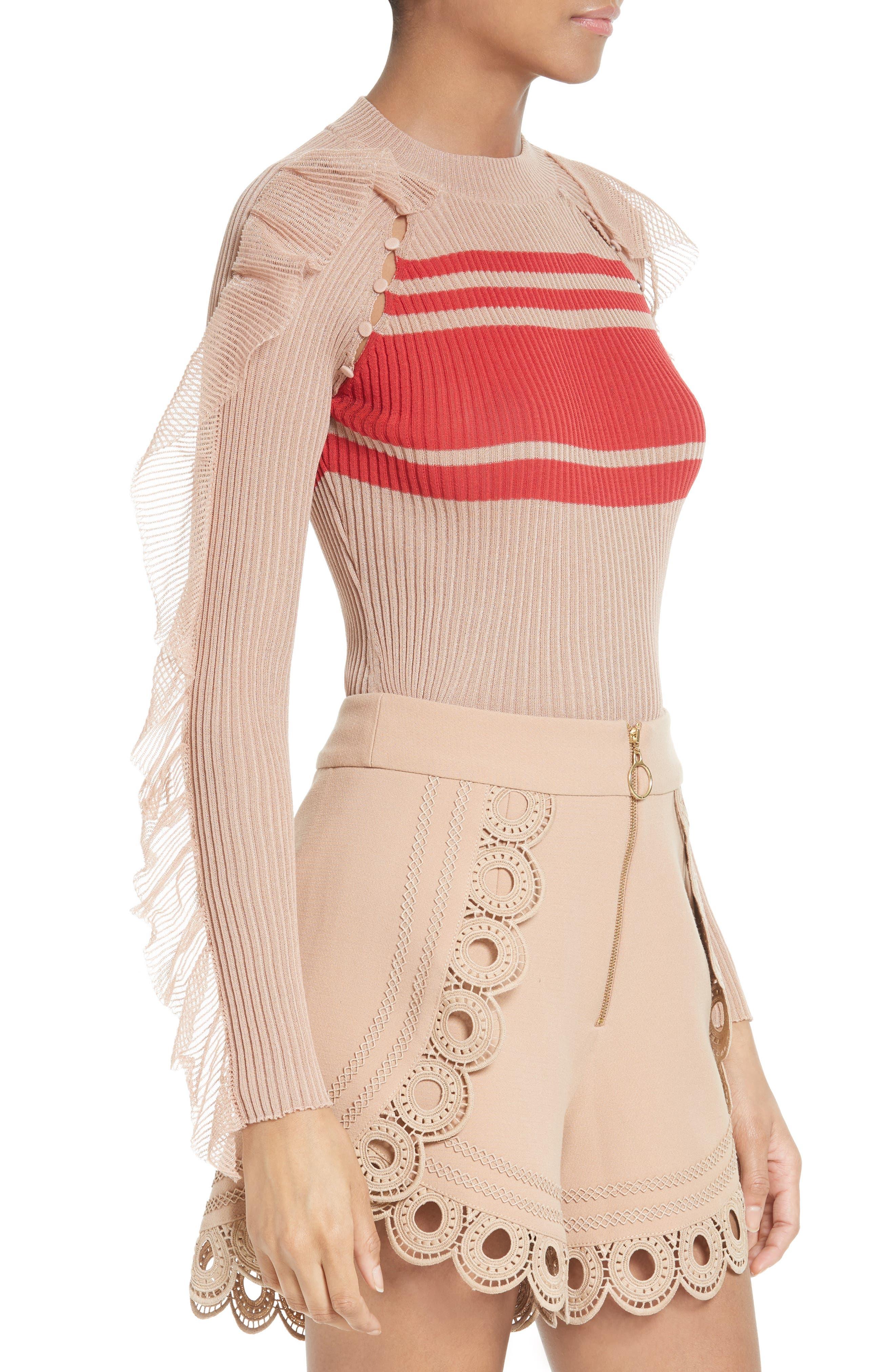 Alternate Image 4  - Self-Portrait Frilled Stripe Sweater