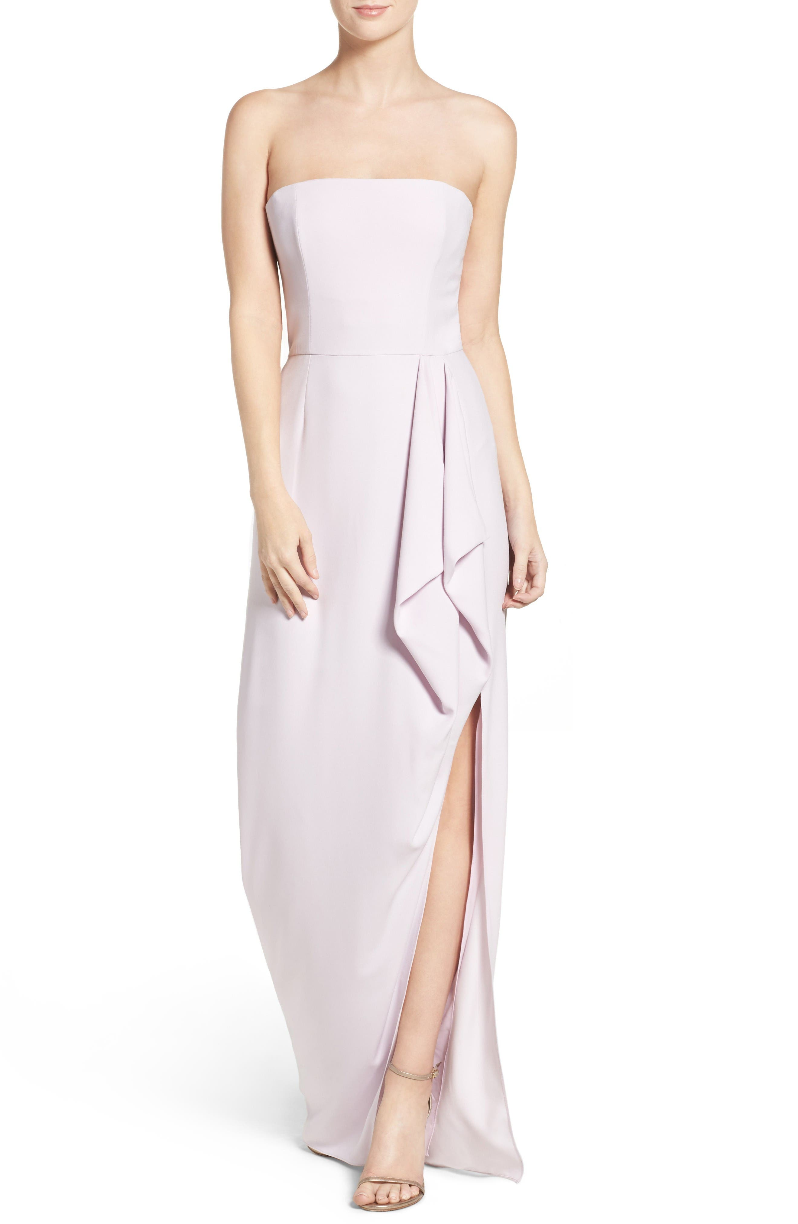 Halston Heritage Strapless Asymmetrical Gown