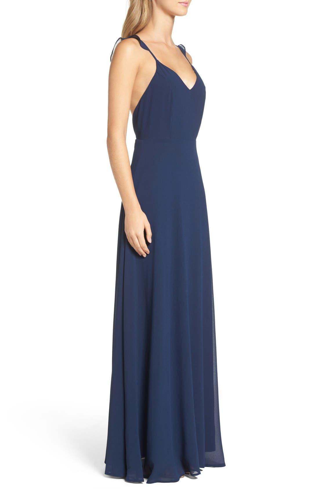Alternate Image 3  - Lulus Flutter Strap A-Line Chiffon Gown